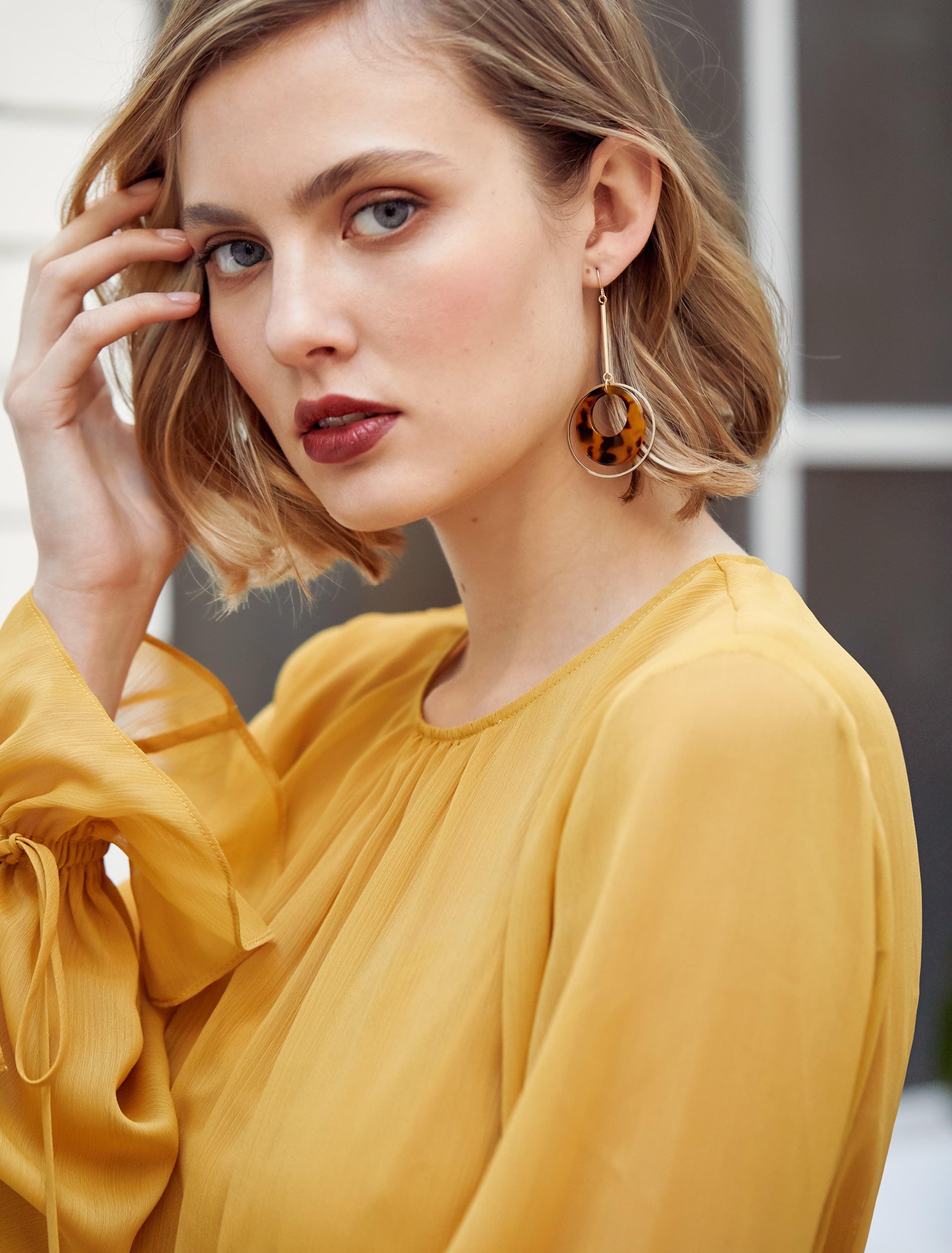 Ever New Ree Resin Bar Drop Earrings - Tortoise