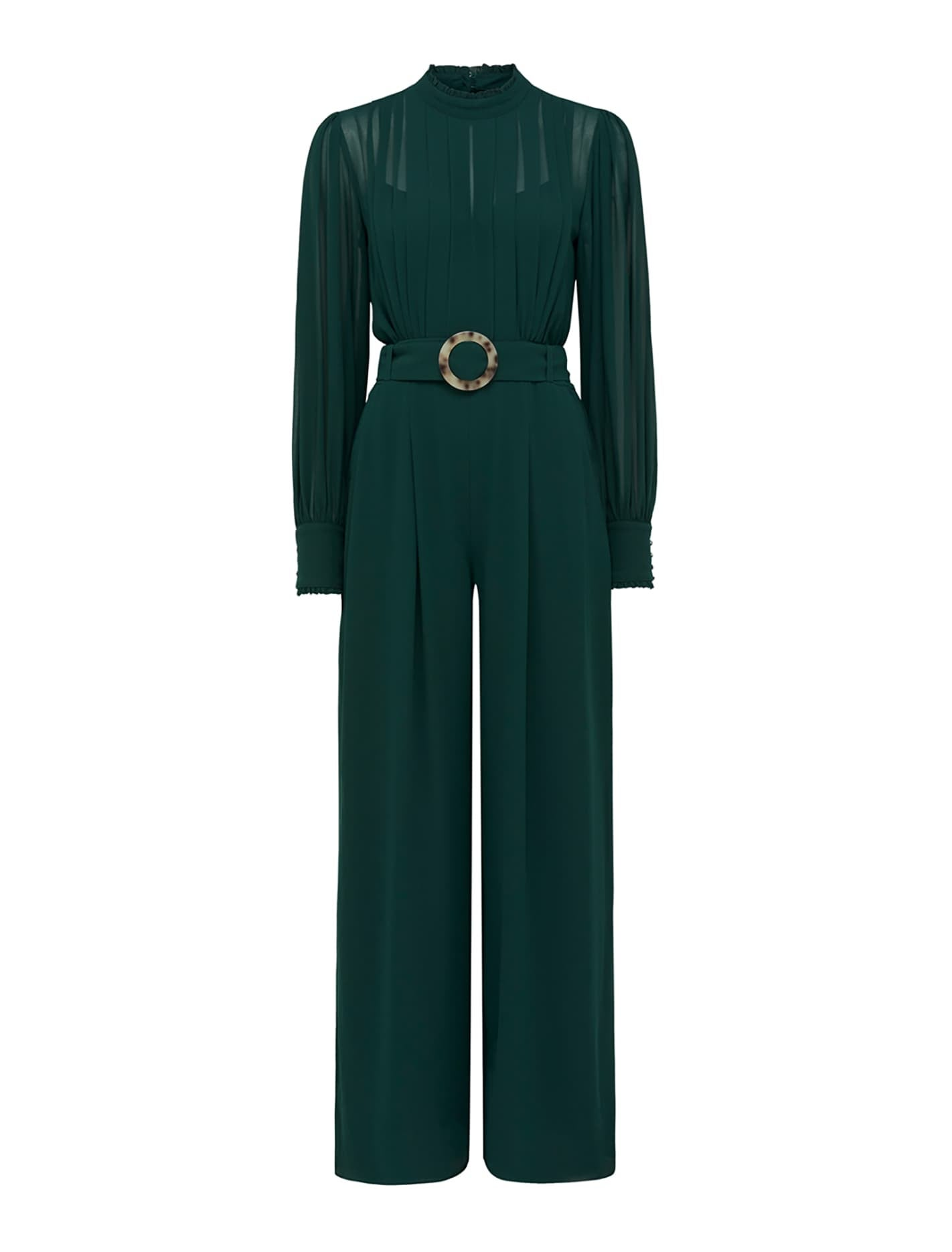 1980s Clothing, Fashion | 80s Style Clothes Octavia Pleated Jumpsuit - Dark Green - 12 $179.99 AT vintagedancer.com
