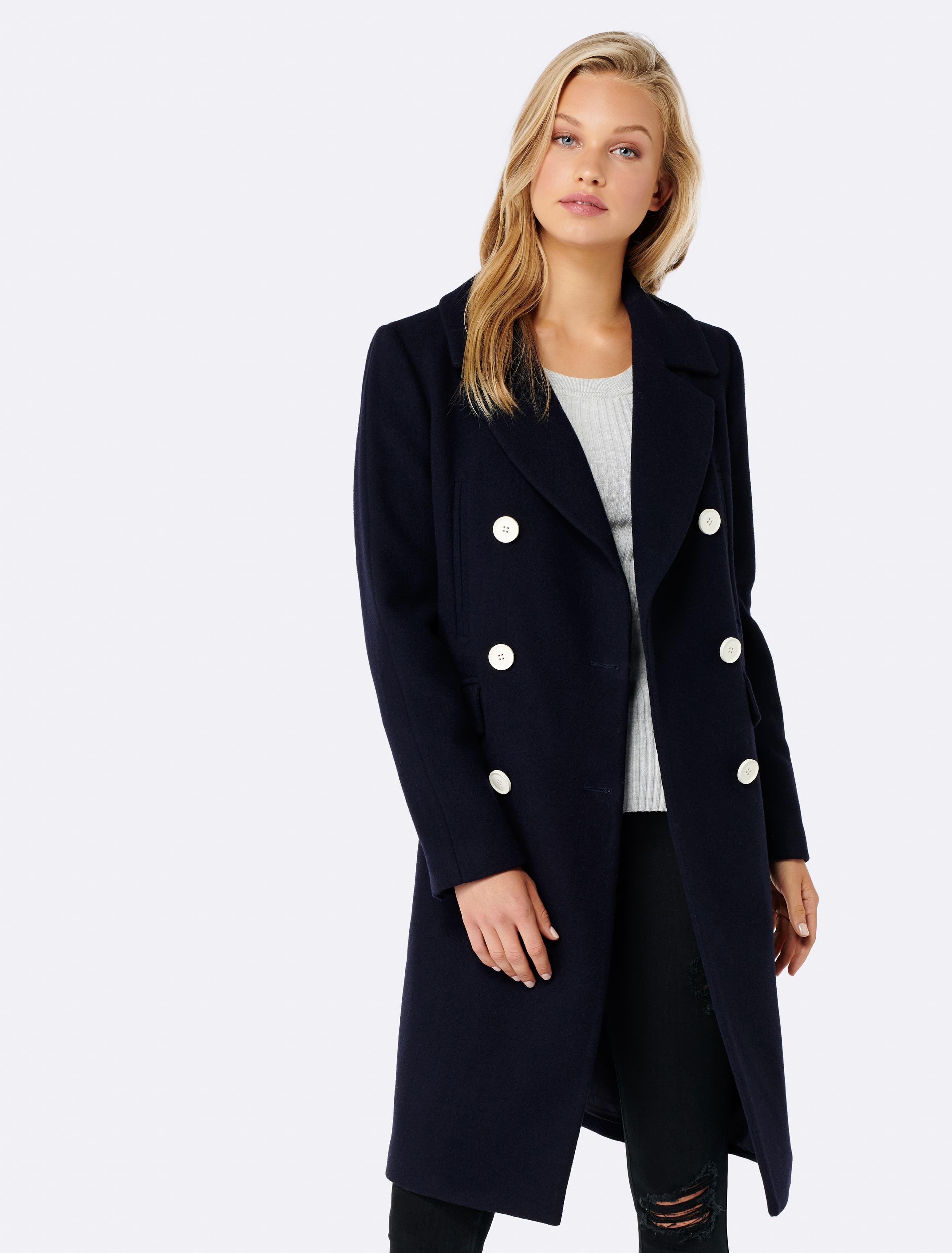 Ever New Tali Double Breasted Coat - Navy