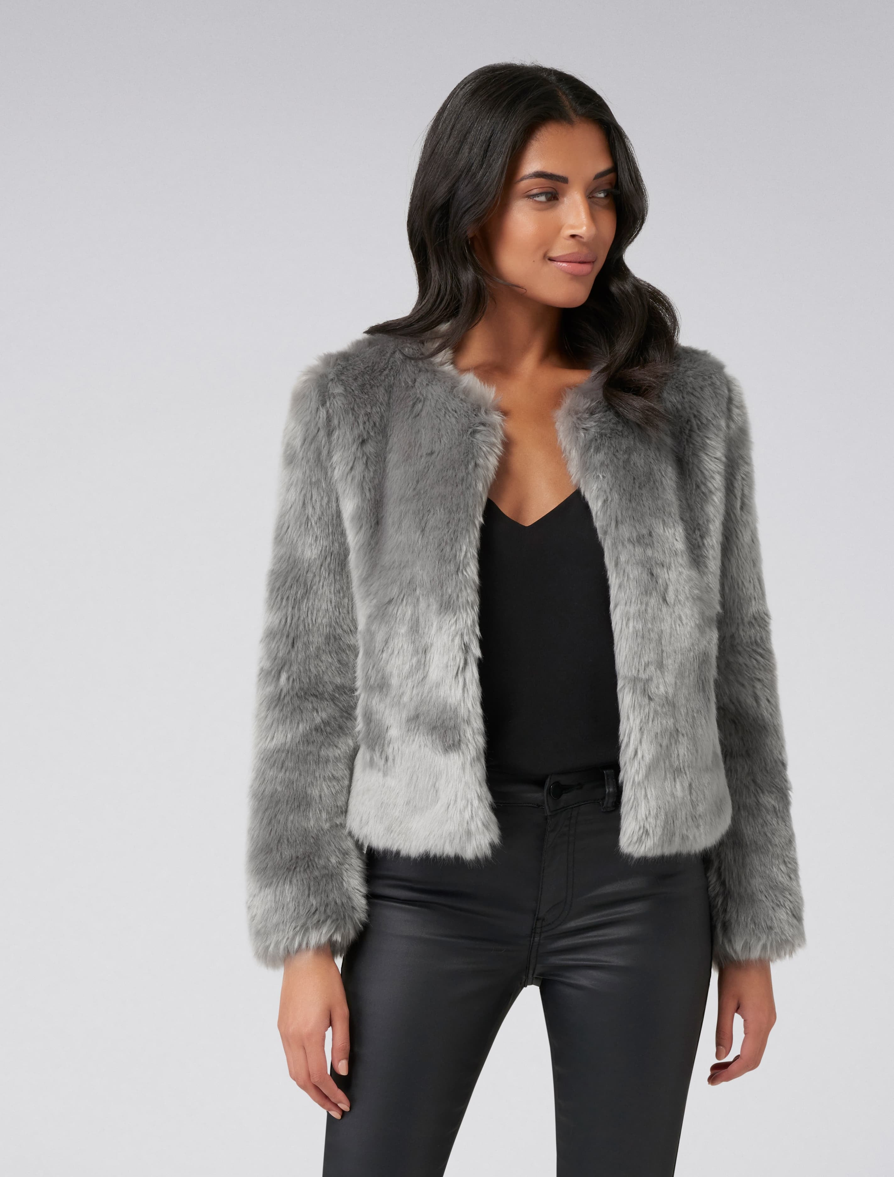 Ever New Angel Cropped Fur Coat - Grey