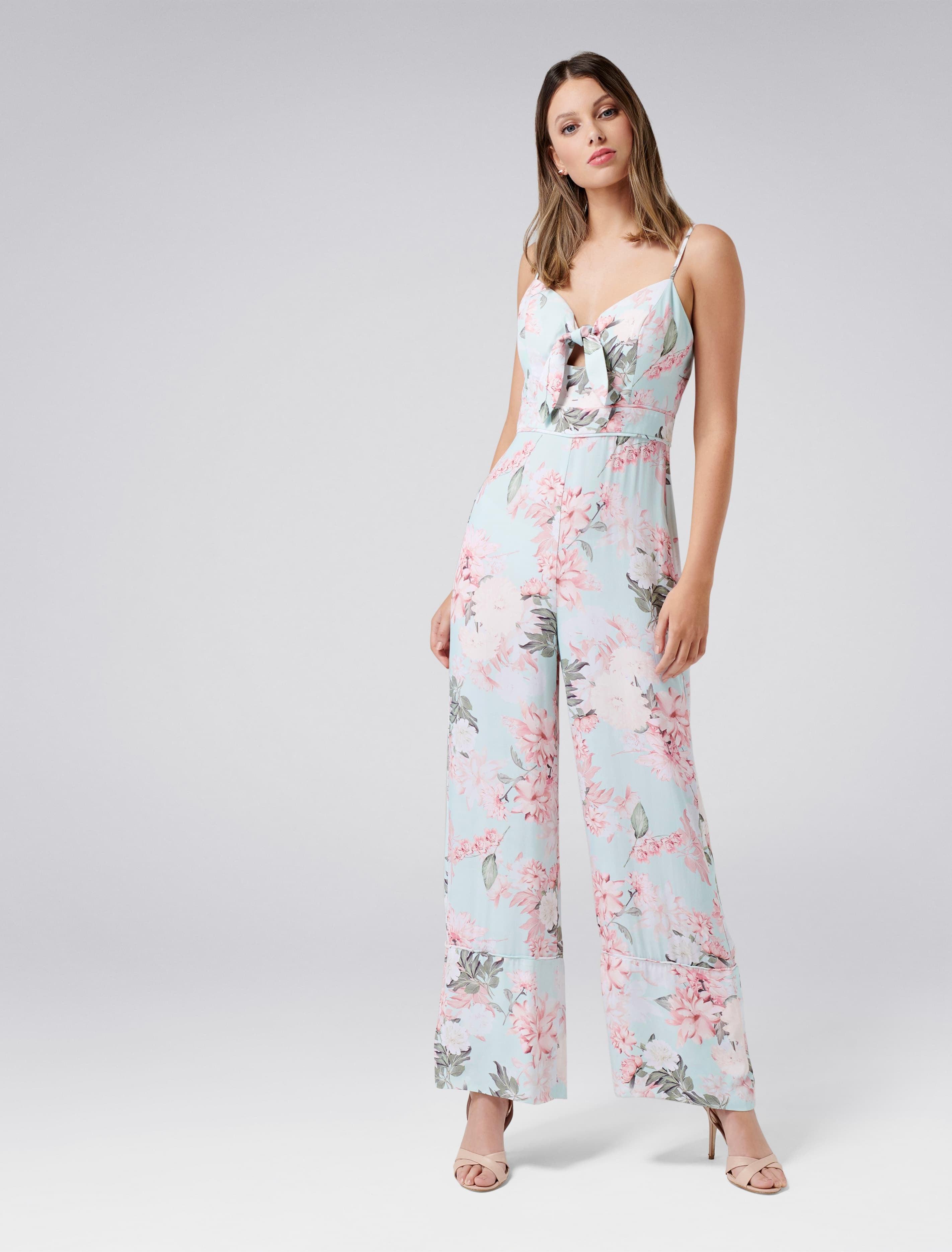 Ever New Tori Tie Front Wide Leg Jumpsuit - Floral Print