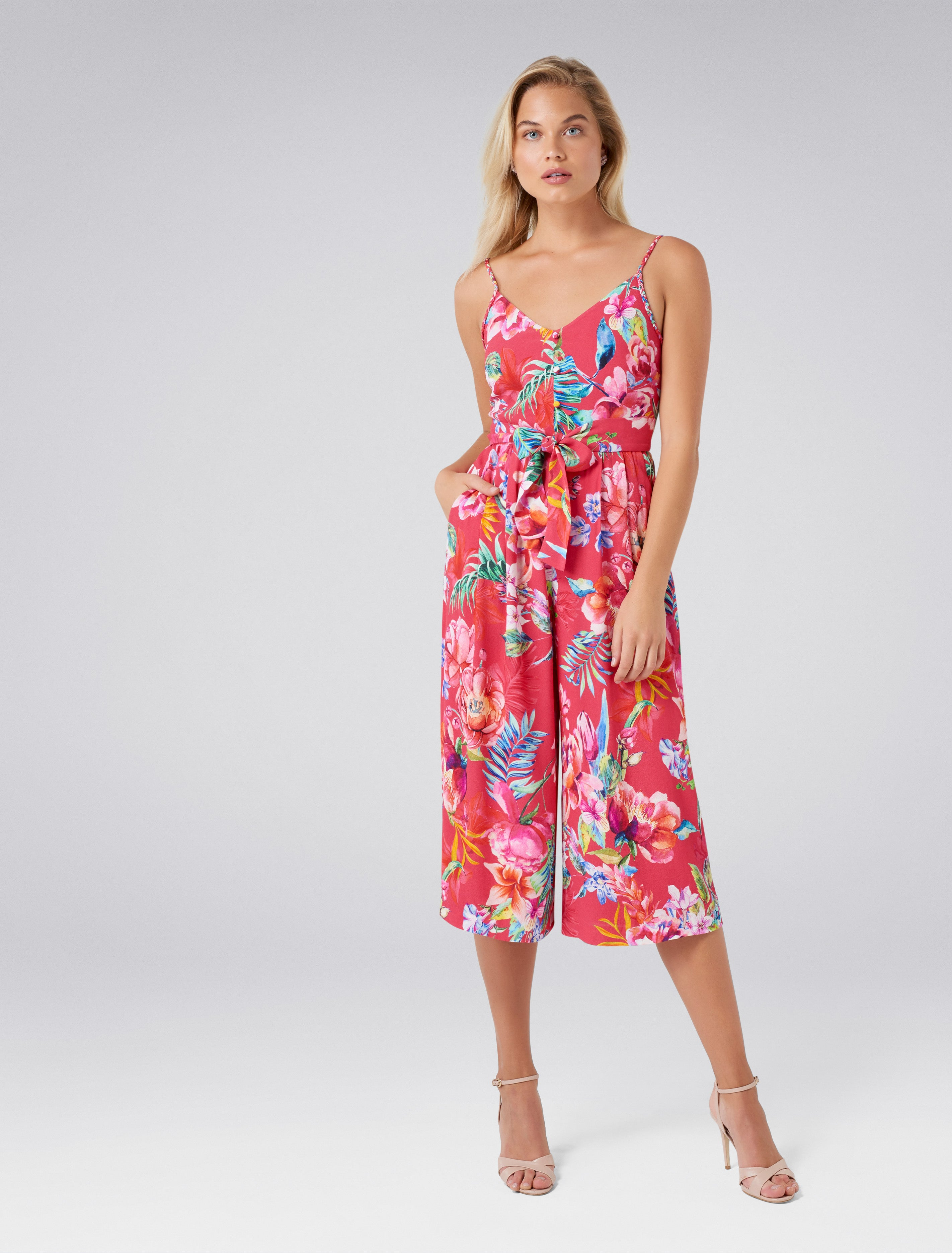 Ever New Dita Culotte Printed Jumpsuit - Pink Floral