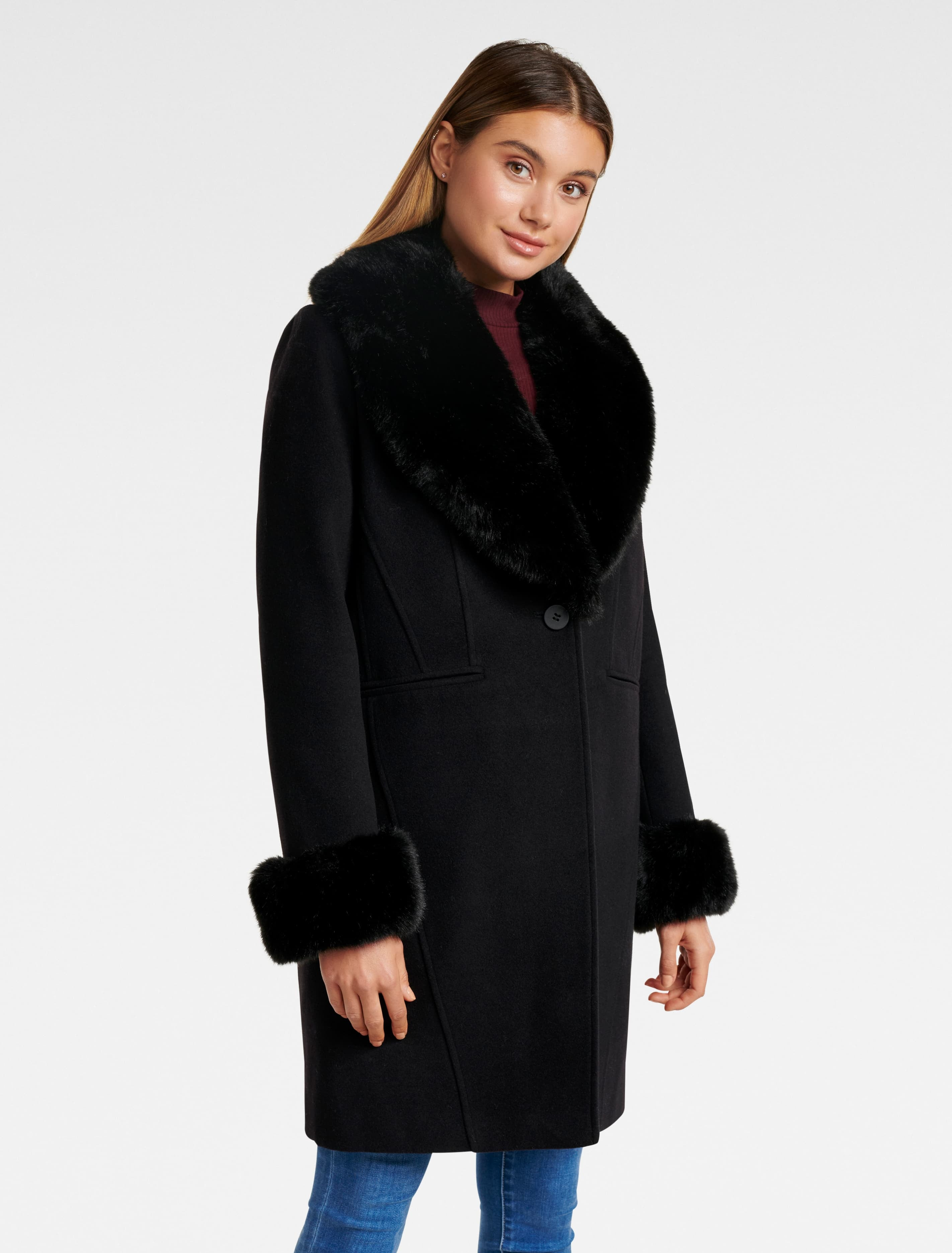 Vintage Coats & Jackets | Retro Coats and Jackets Aurora Fur Cuff Crombie Coat - Black - 12 $149.99 AT vintagedancer.com