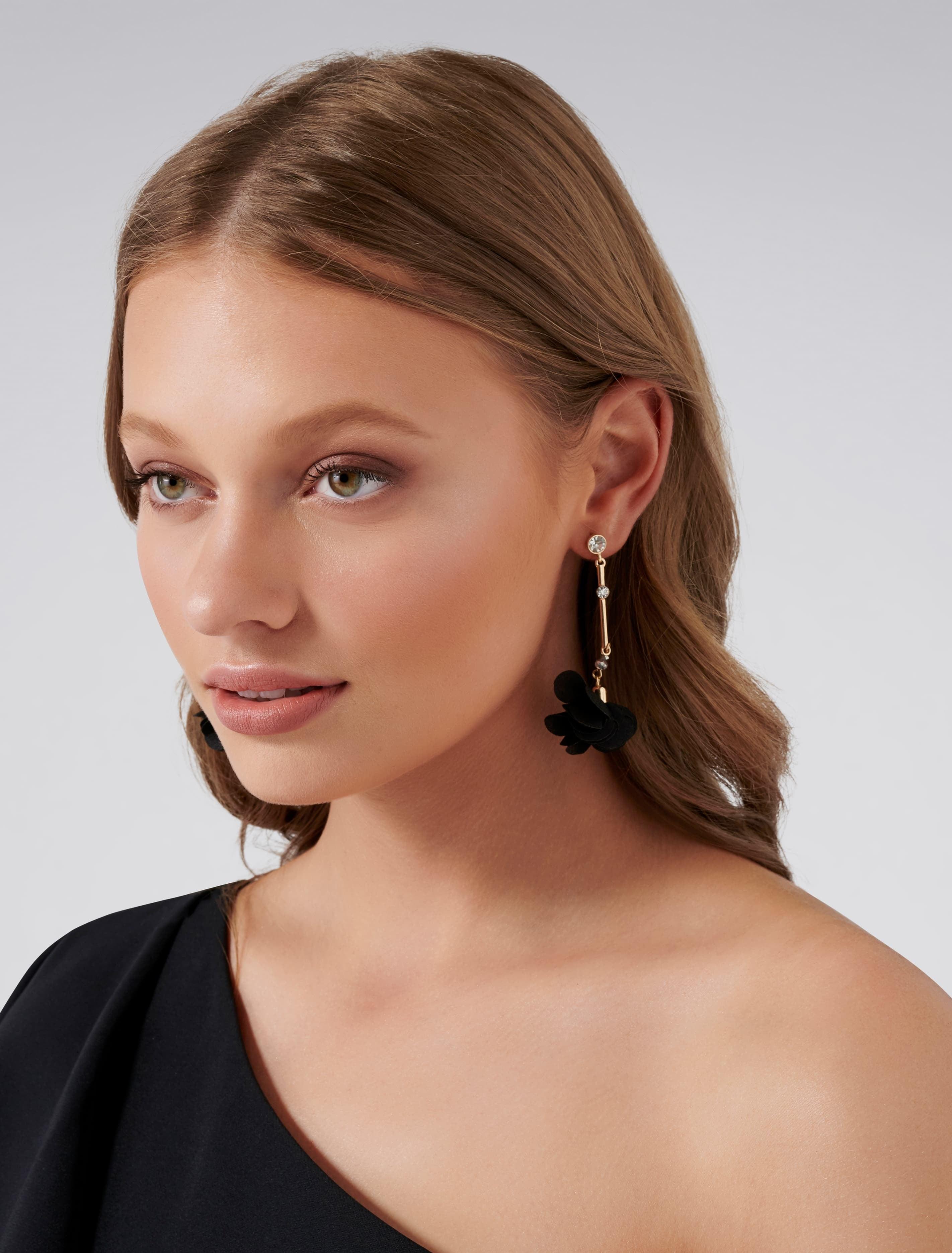 Ever New Olympia Soft Petal Drop Earrings - Black