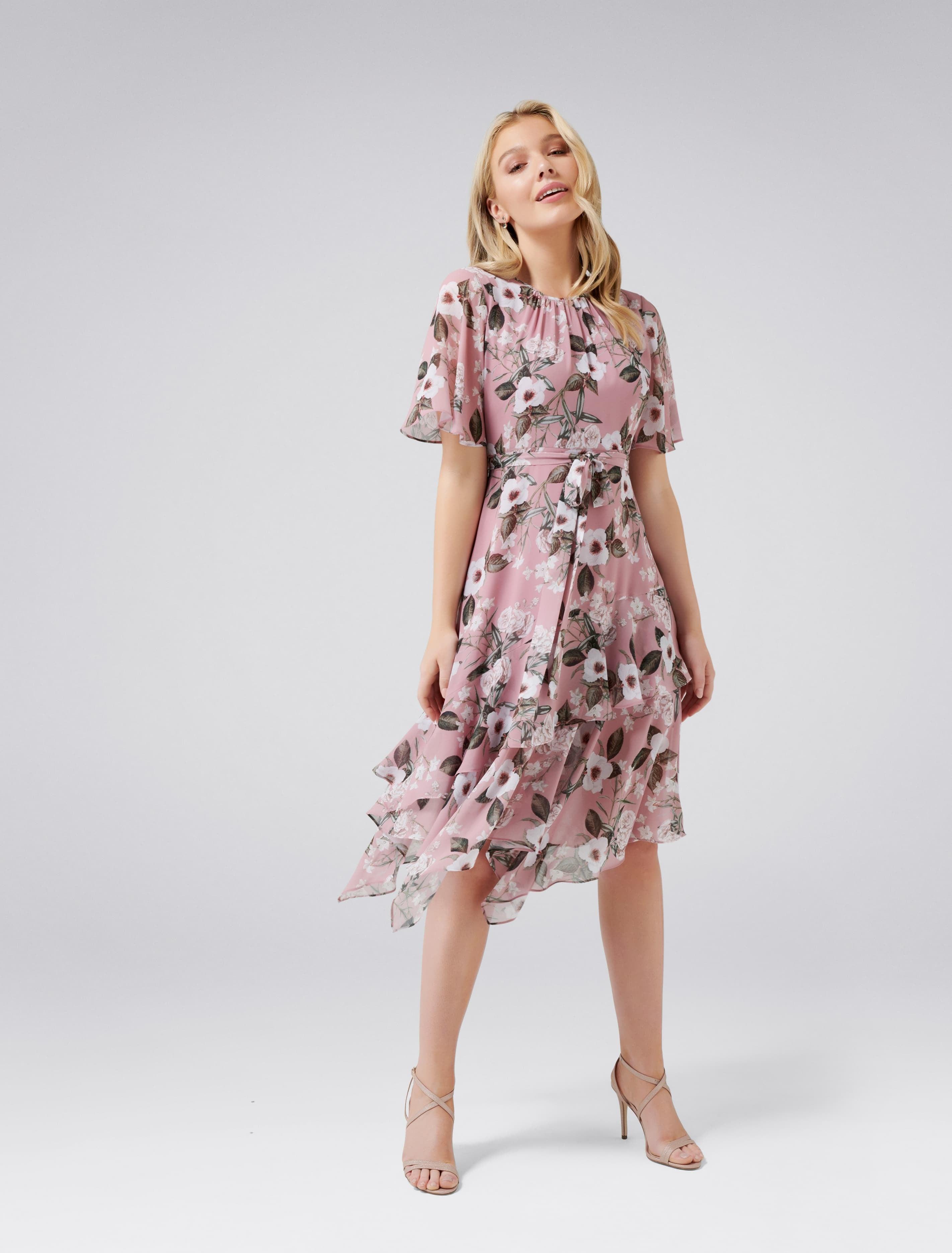 Vintage 1920s Dresses – Where to Buy Nancy Petite Cape Sleeve Midi Dress - Mauve Blush Blooms - 384 $99.95 AT vintagedancer.com