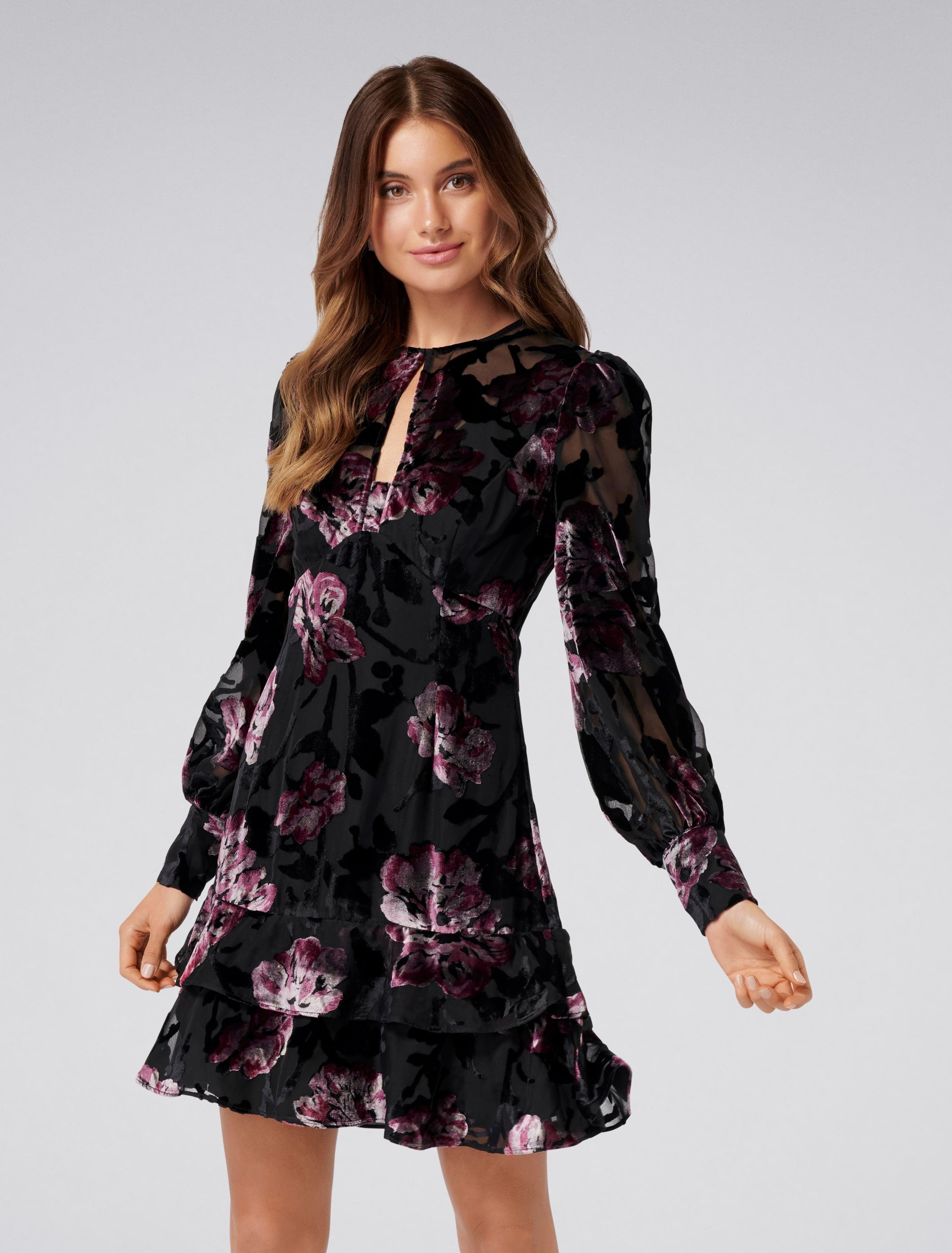 Ever New Shani Burnout Velvet Dress - Velvet Burnout