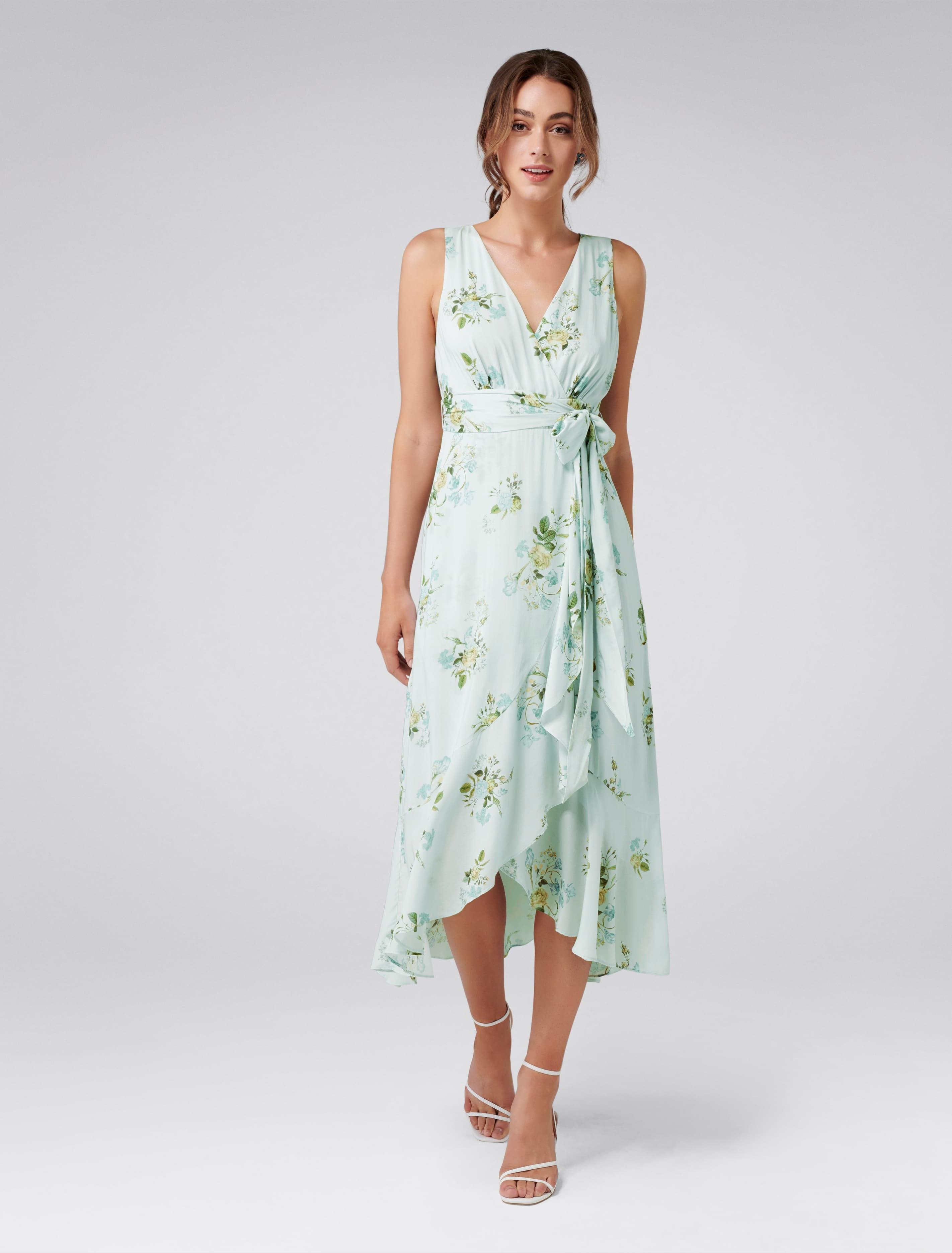 Vintage 1920s Dresses – Where to Buy Cora Wrap Front Midi Dress - Soft Botanical - 8 $74.95 AT vintagedancer.com