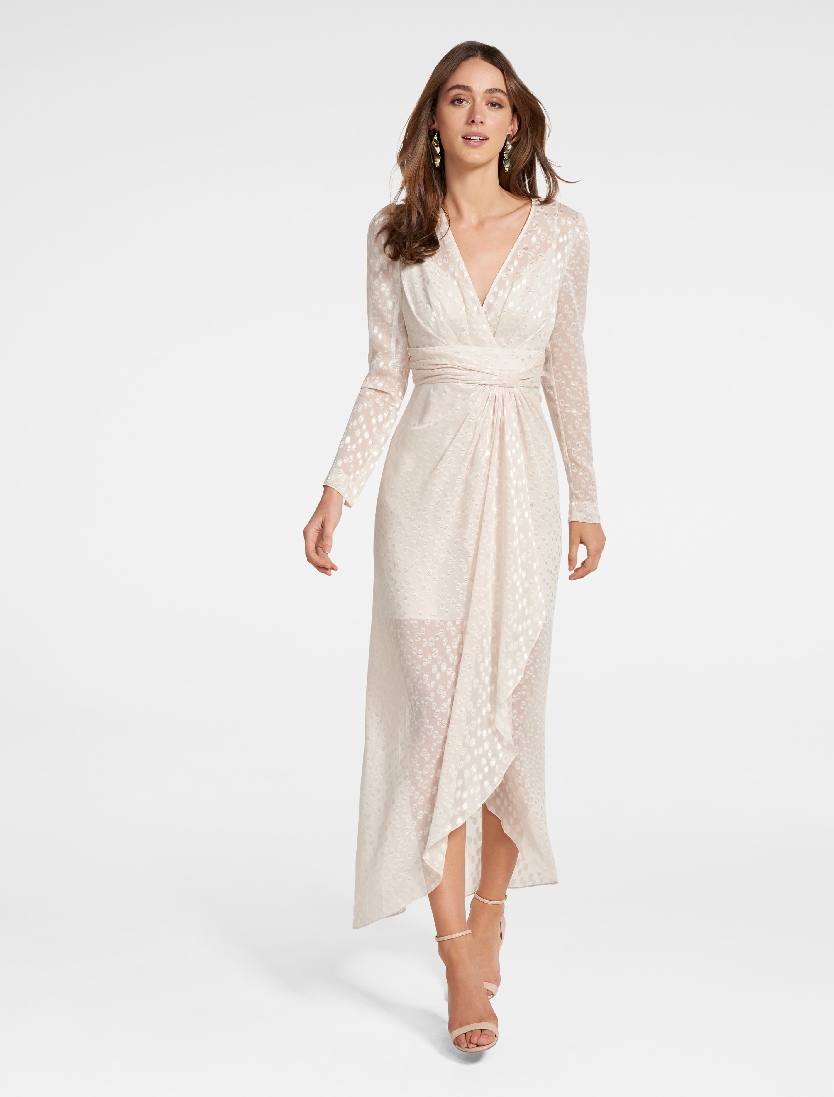 70s Dresses – Disco Dress, Hippie Dress, Wrap Dress Winona Metallic Dress - Cream - 14 $99.95 AT vintagedancer.com