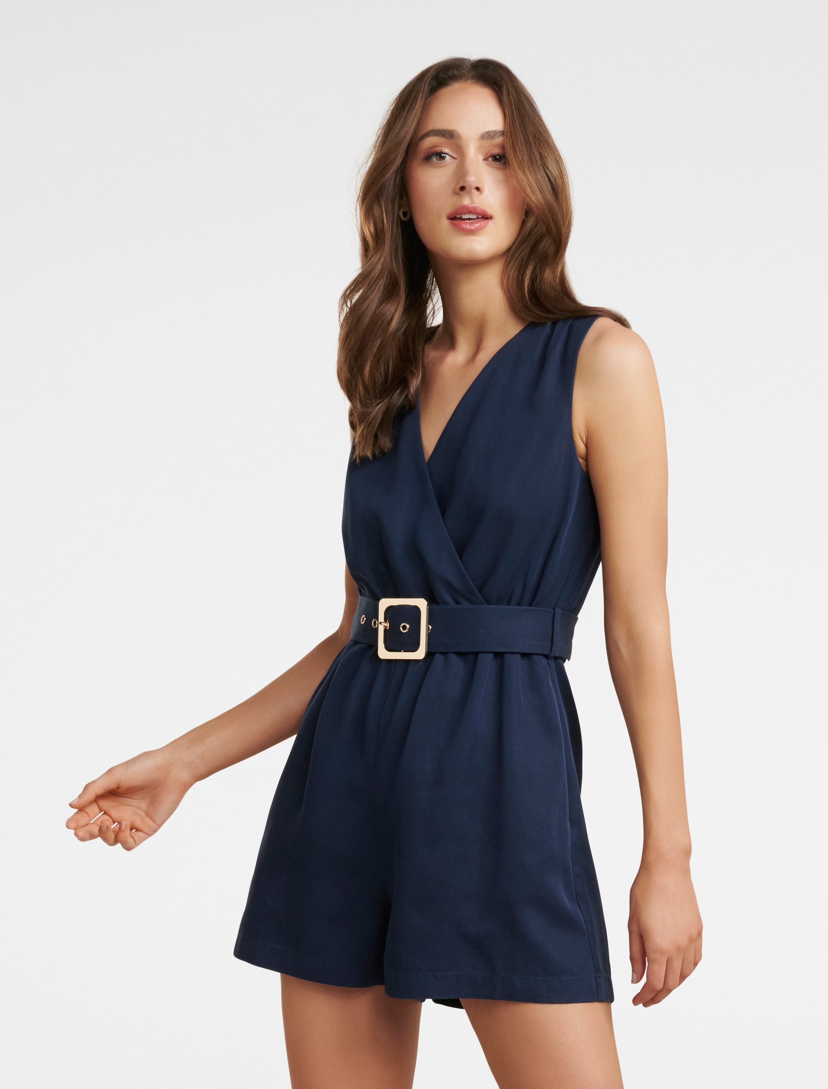 Ever New Asher Wrap Romper - Navy