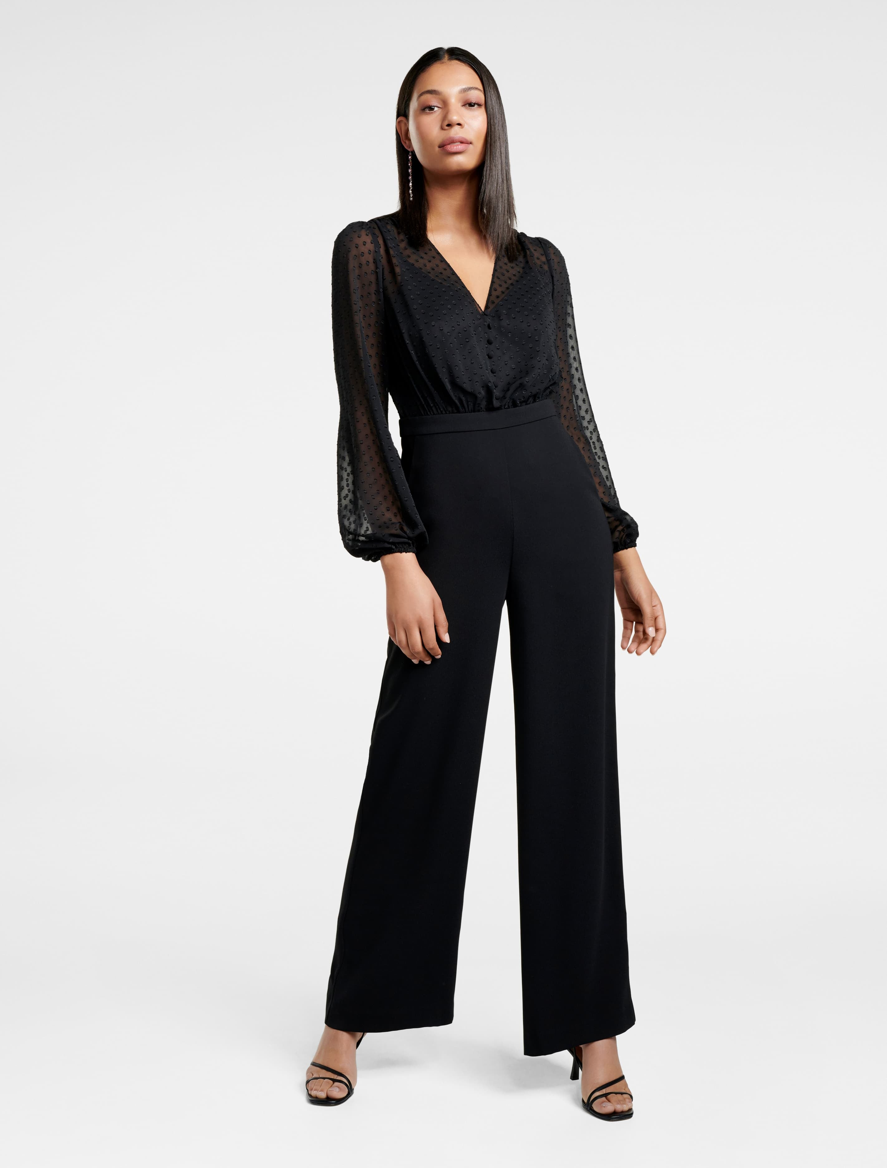 Ever New Amber Sheer-Bodice Jumpsuit