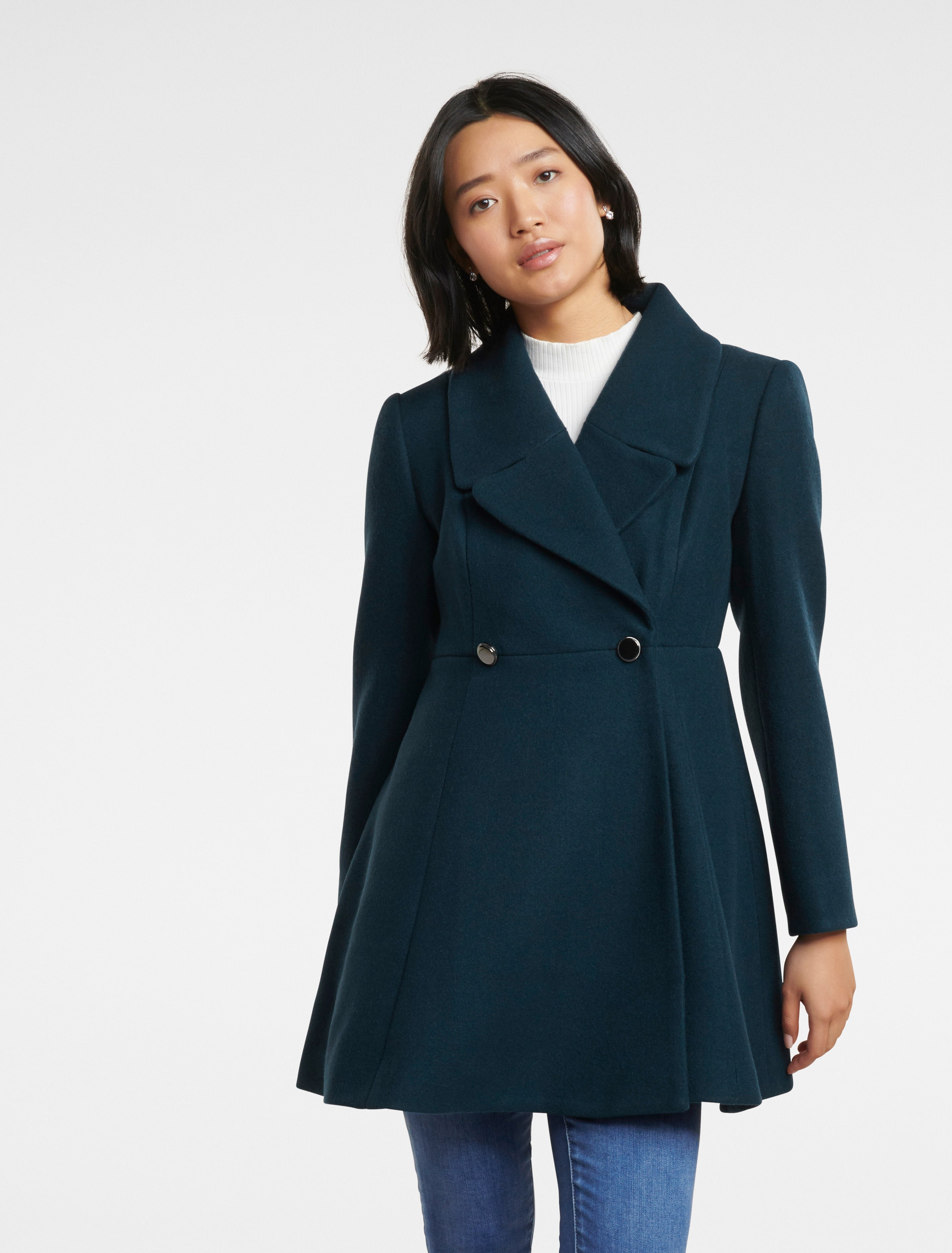 Ever New Hannah Petite Fit and Flare Coat - Teal