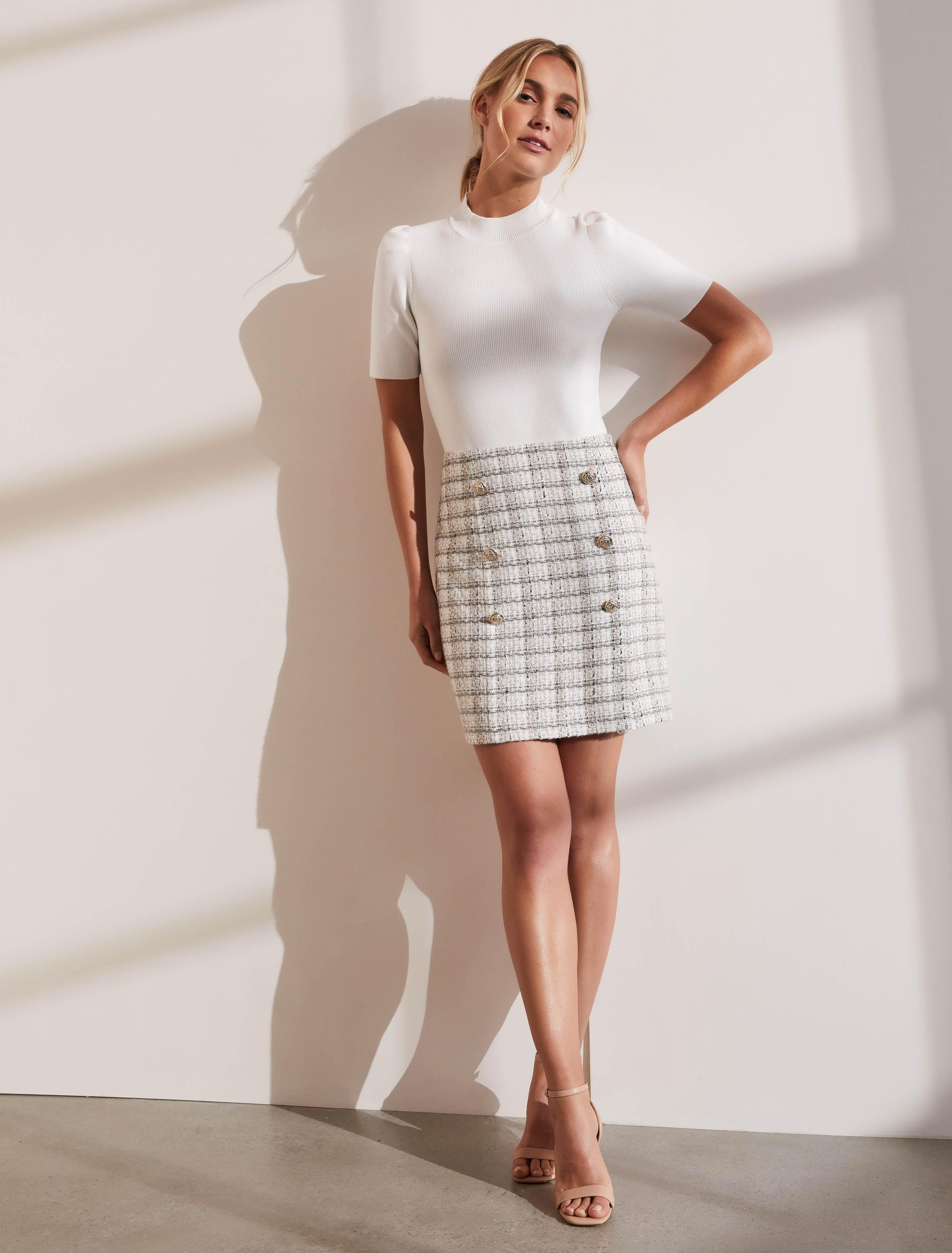 Ever New Jackson Double Vent Boucle Mini Skirt
