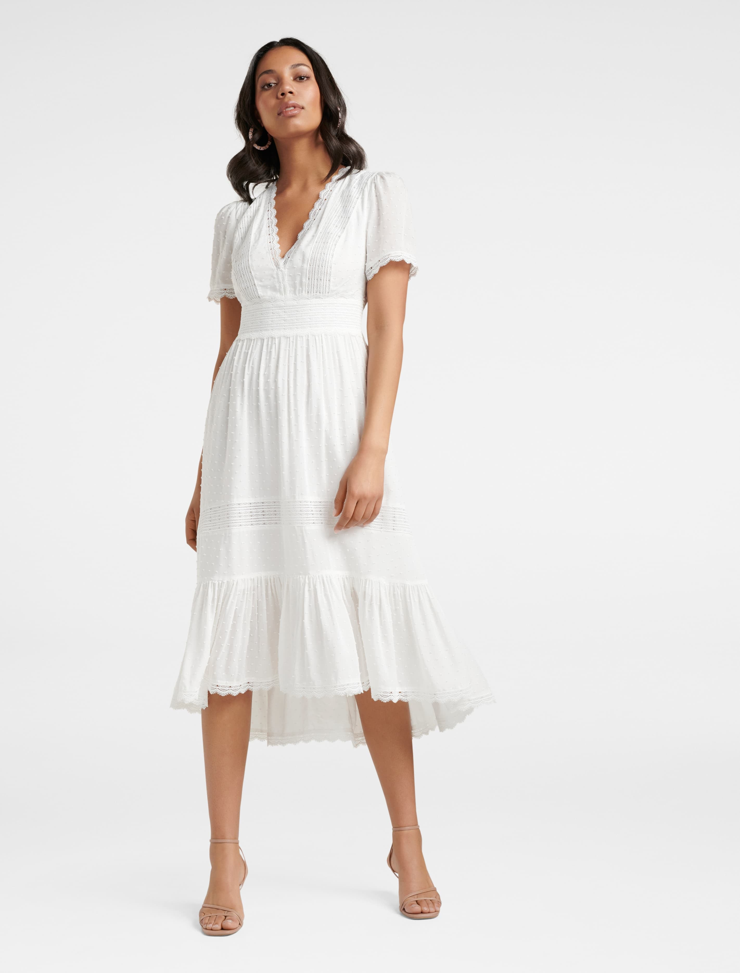 Swing Dance Clothing You Can Dance In Margot Spliced Midi Dress - White - 12 $135.99 AT vintagedancer.com
