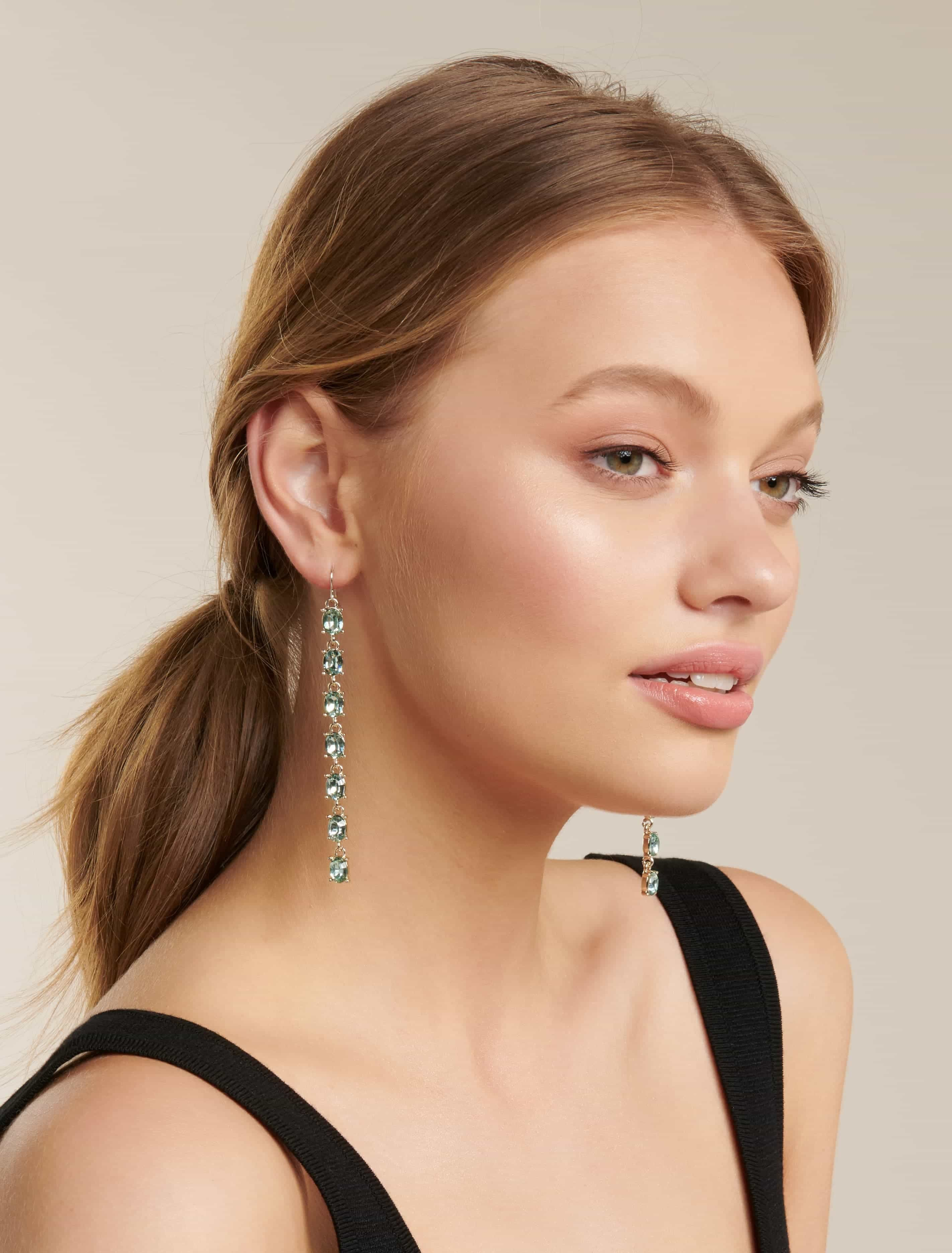 Ever New Josephine Stone Column Drop Earrings - Green