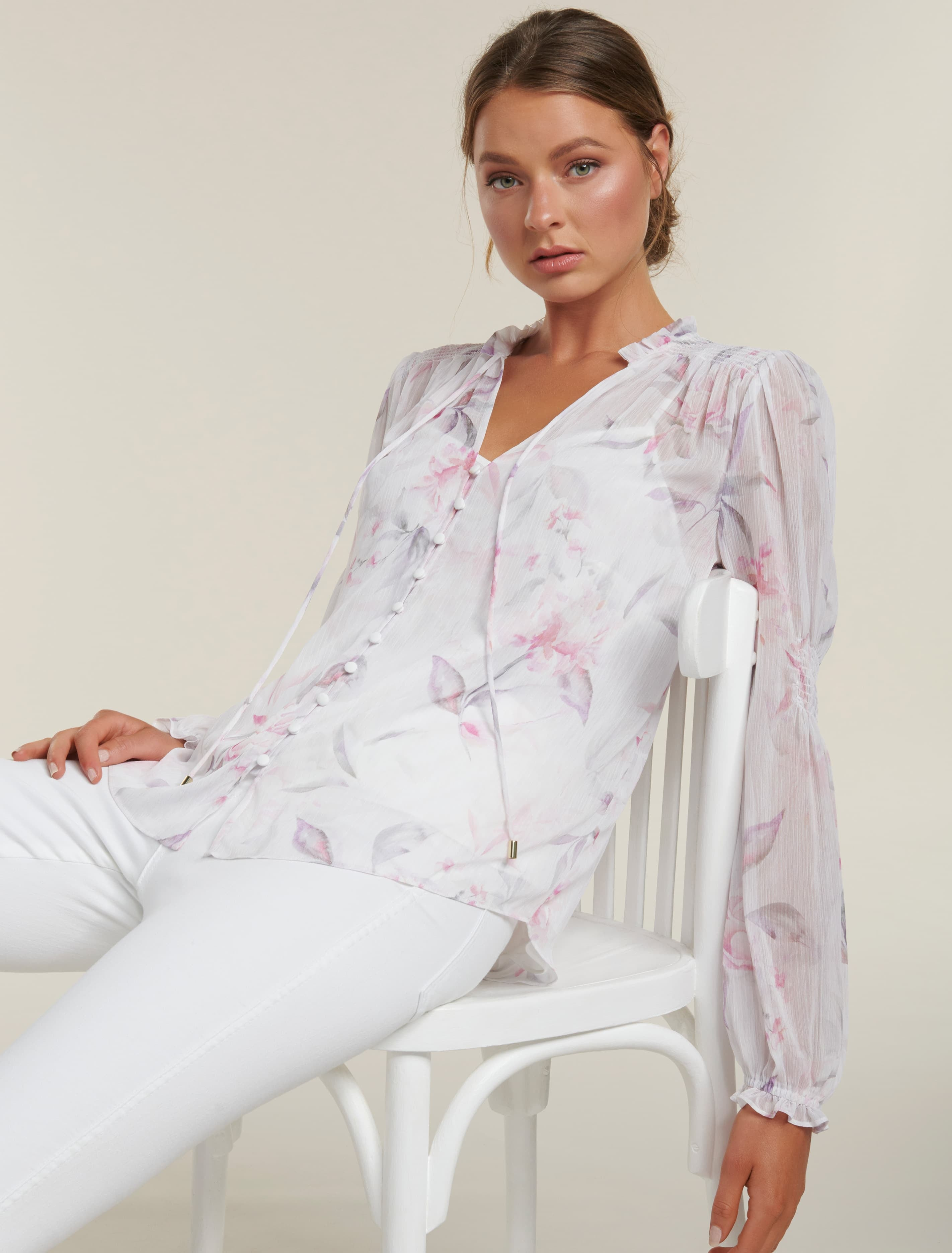 Ever New Mischa Shirred Blouse