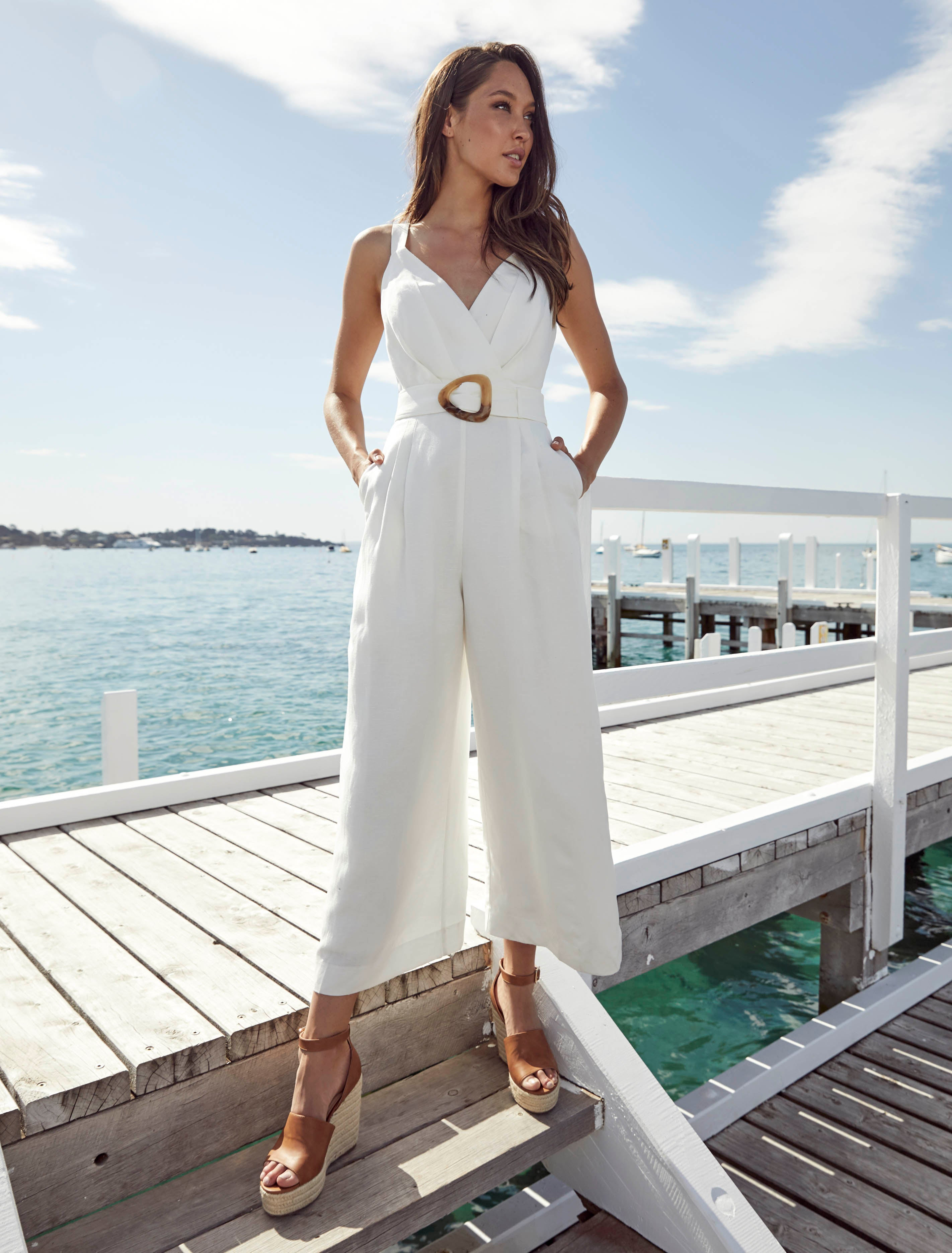 Ever New Kira Belted Linen Jumpsuit