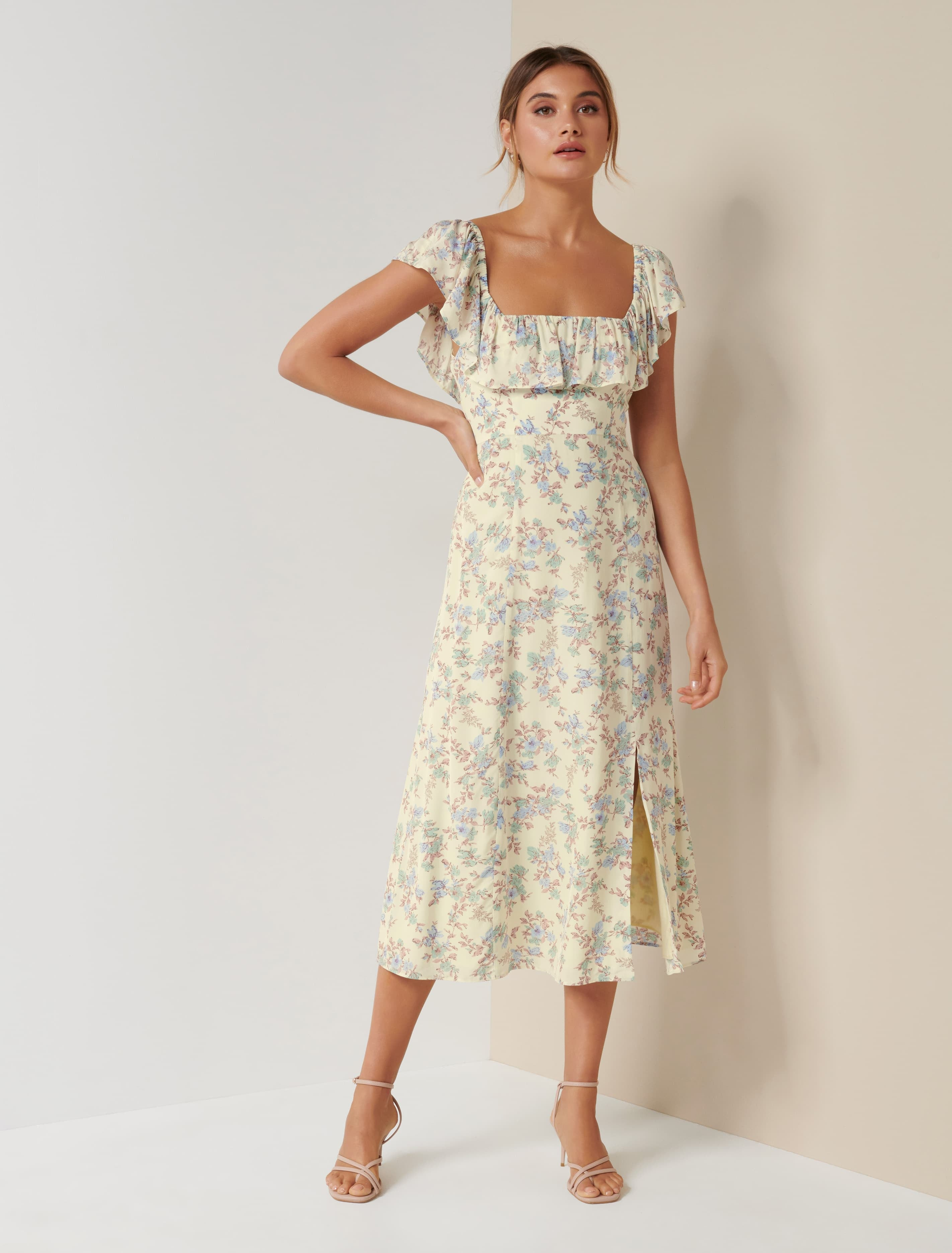 Ever New Ruby Ruffle Square Neck Midi Dress