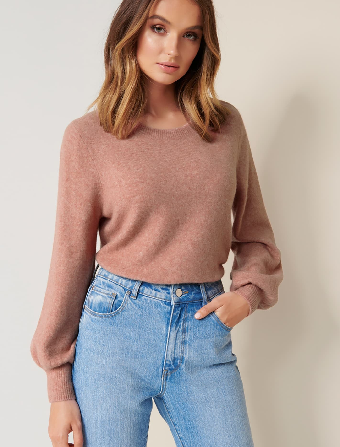 Ever New Elissa Blouson Sleeve Wool-Blend Jumper - Baked Pink