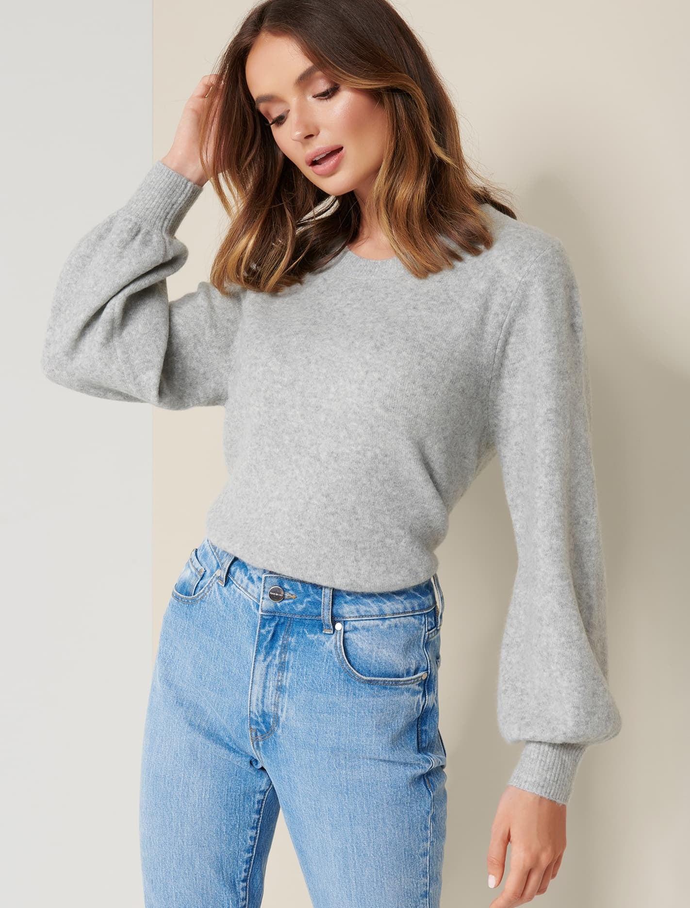 Ever New Elissa Blouson Sleeve Wool Jumper - Iced Grey