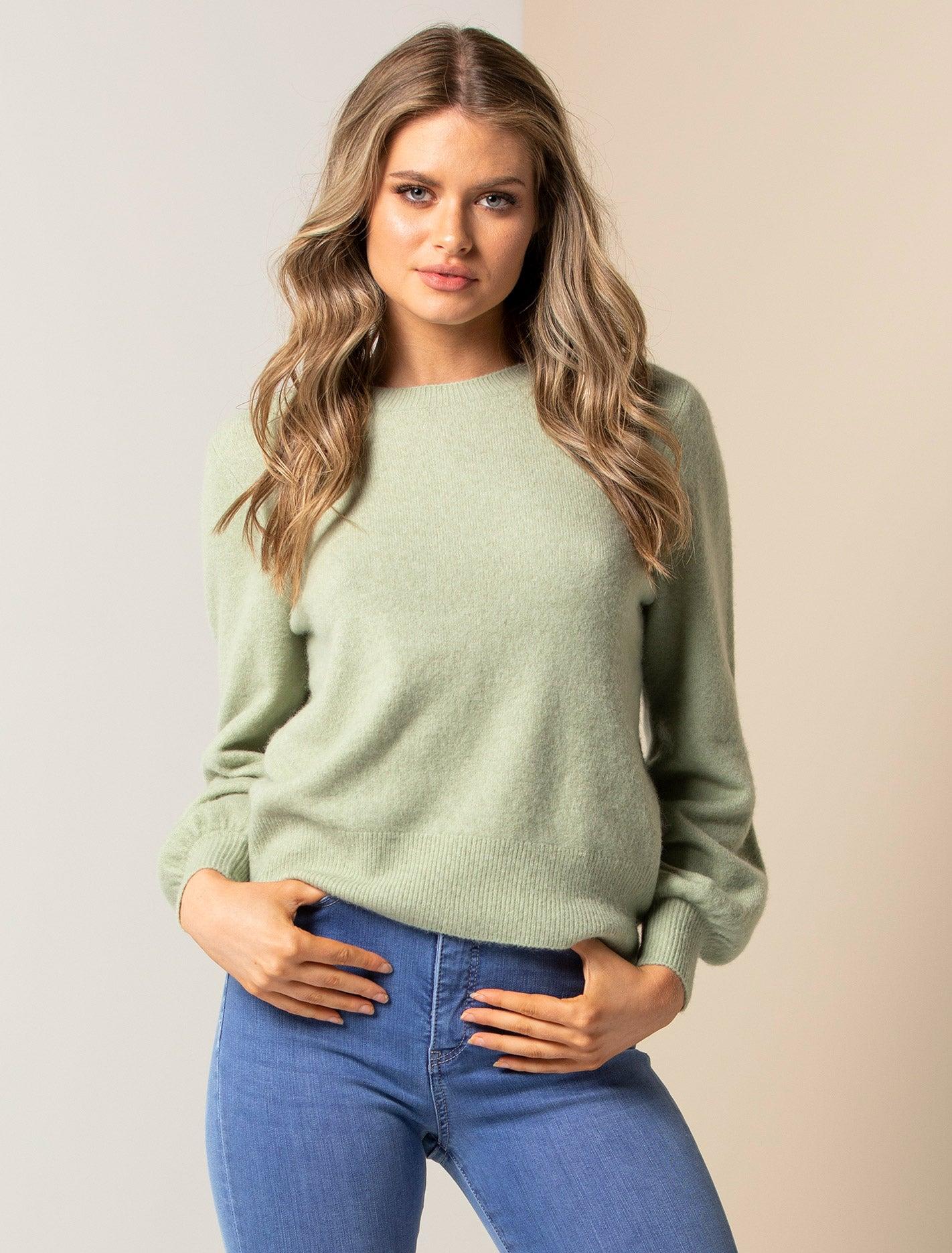 Ever New Elissa Blouson Sleeve Knit Jumper - Soft Green