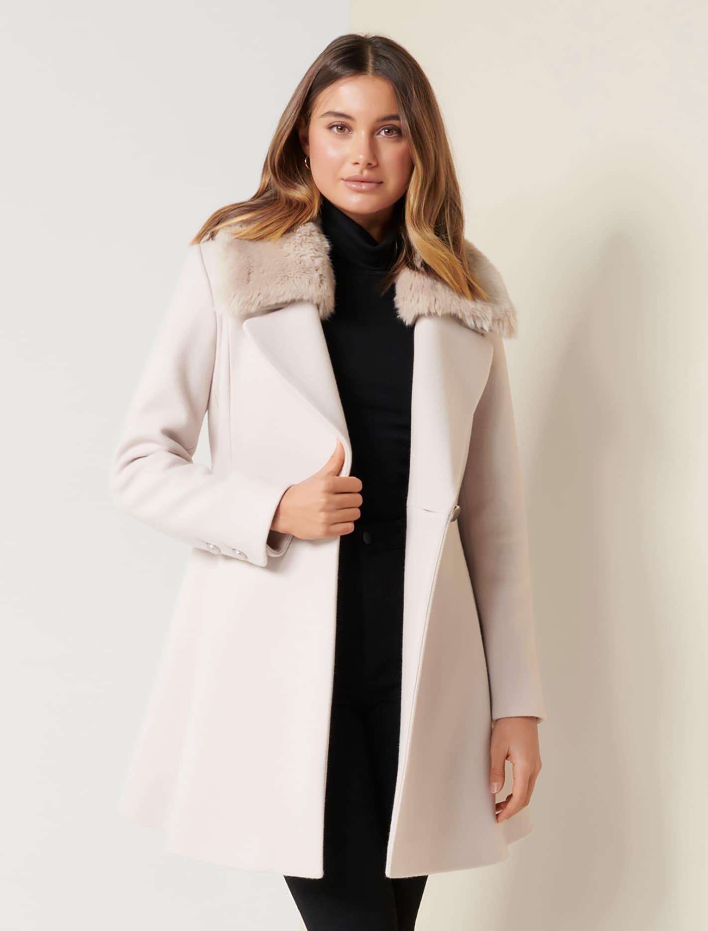 Ever New Jenna Faux Fur Collar Coat - Mink