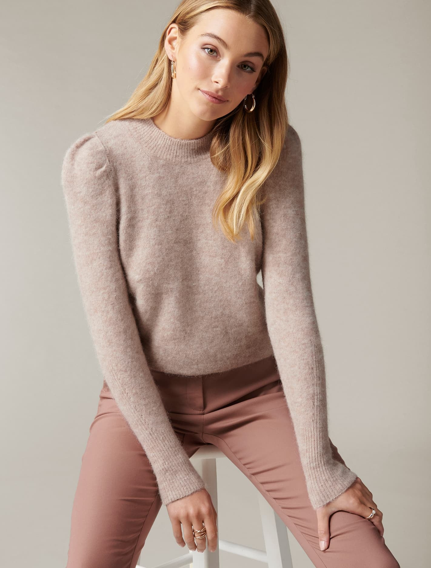 Ever New Ava Brushed Pleat-Sleeve Jumper - Camel