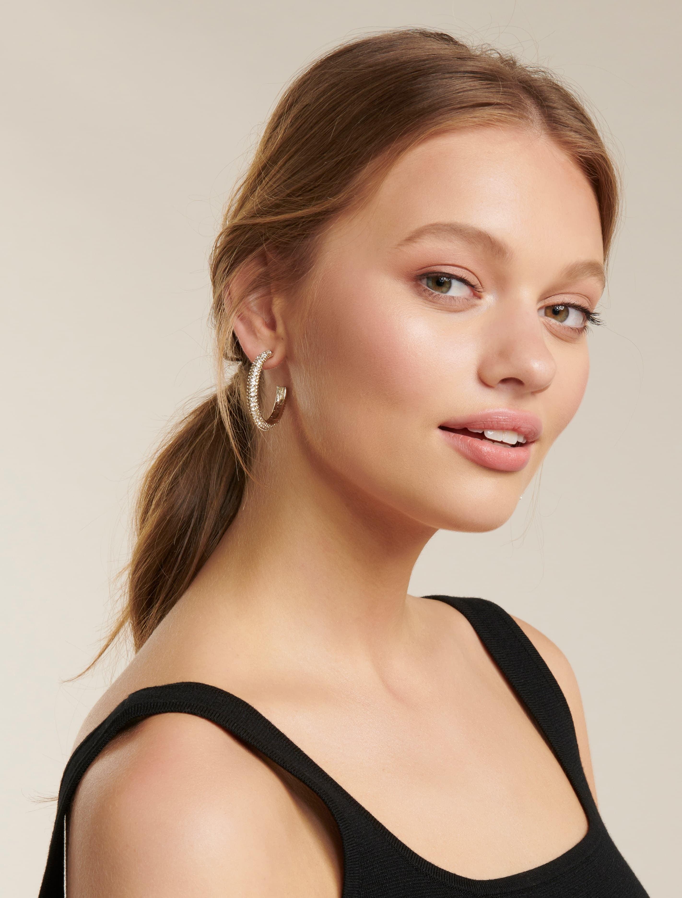 Ever New Louise Diamante Hoop Earrings - Crystal