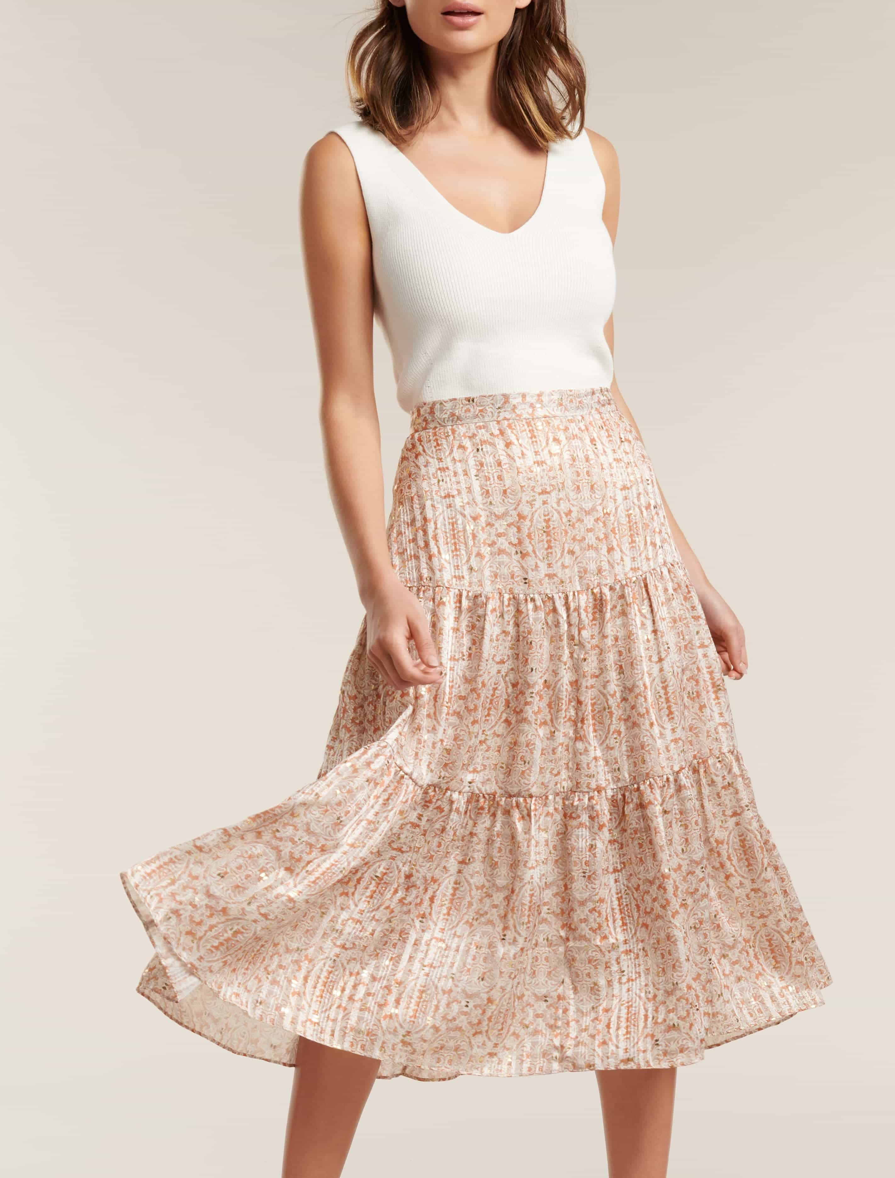 Ever New Taliyah Tiered Midi Skirt