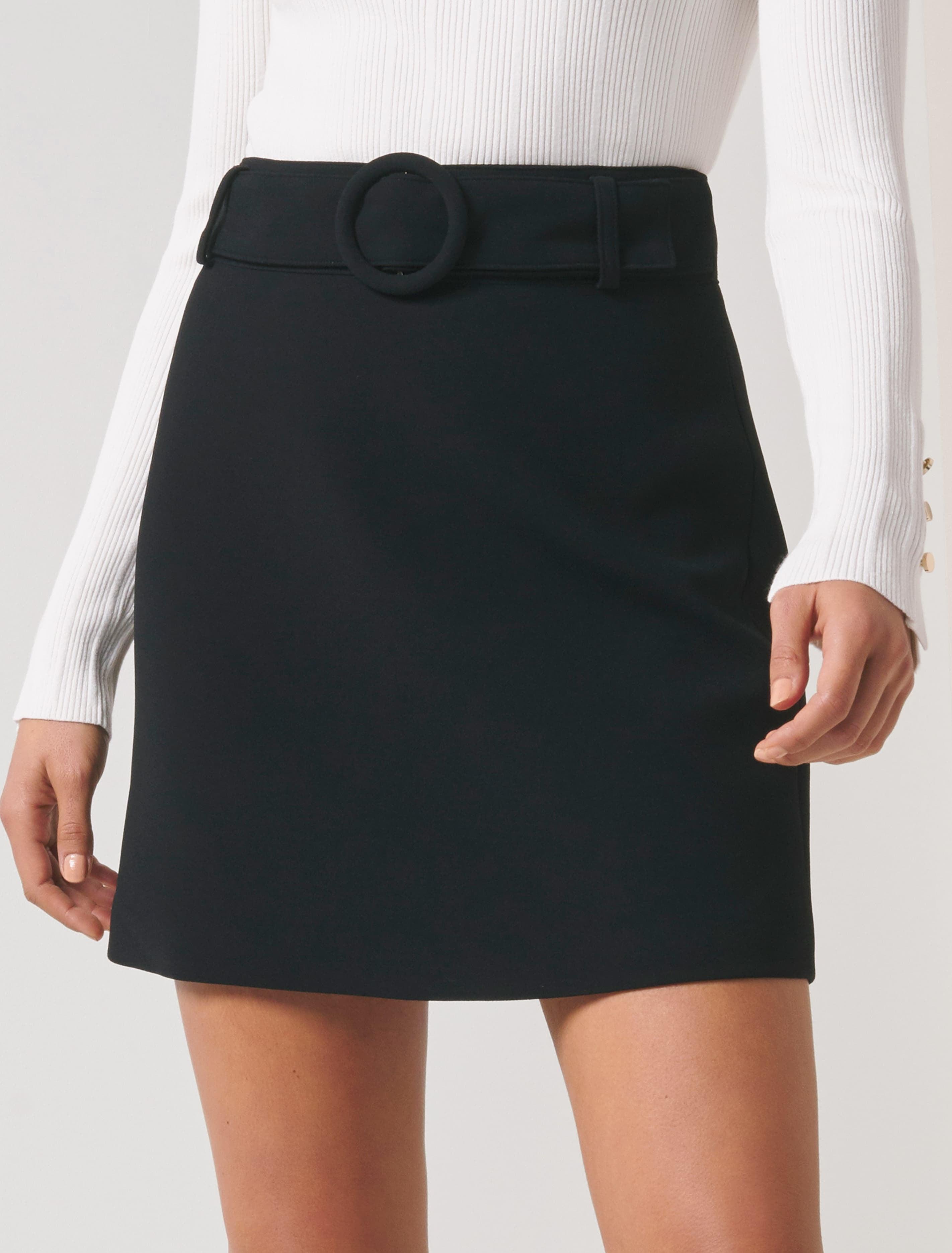 60s Skirts | 70s Hippie Skirts, Jumper Dresses Anabelle Belted Crepe Mini Skirt - Black - 12 $71.99 AT vintagedancer.com