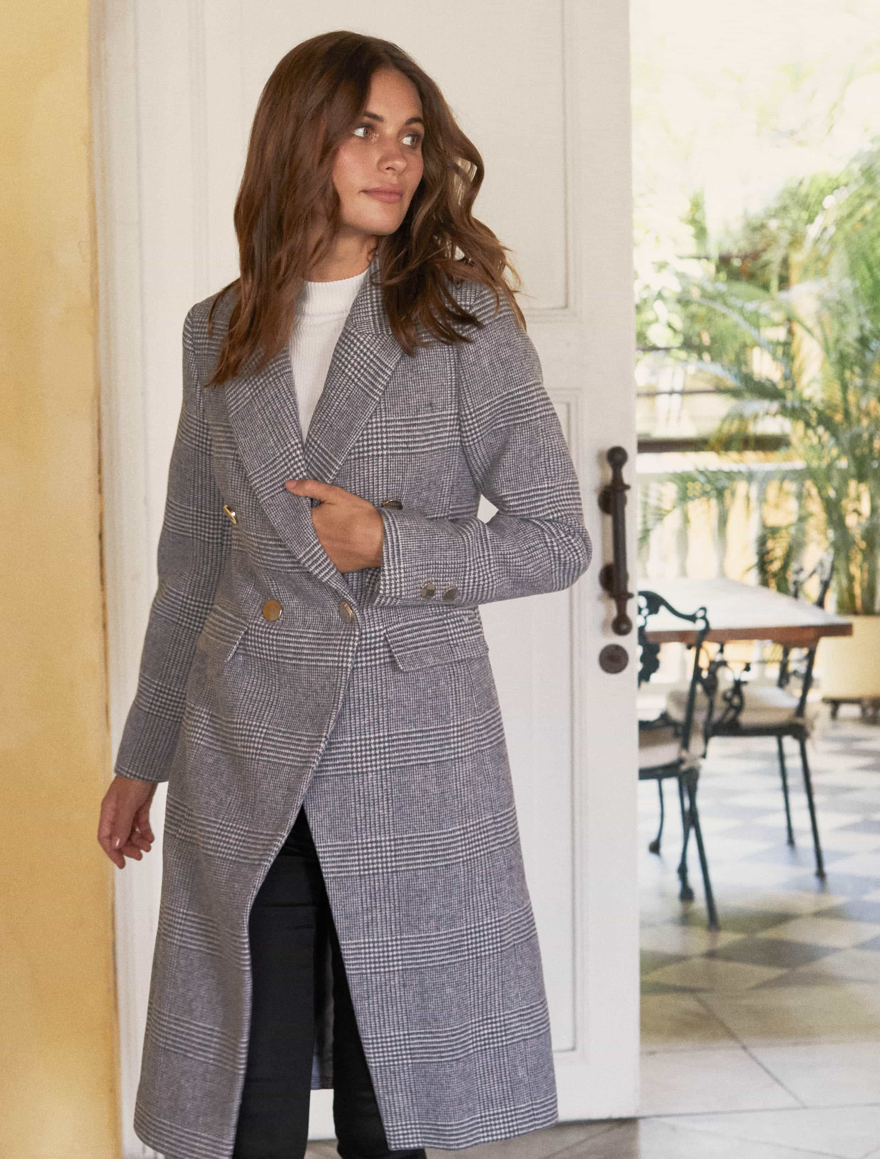 Ever New Katie Double-Breasted Check Coat - Check