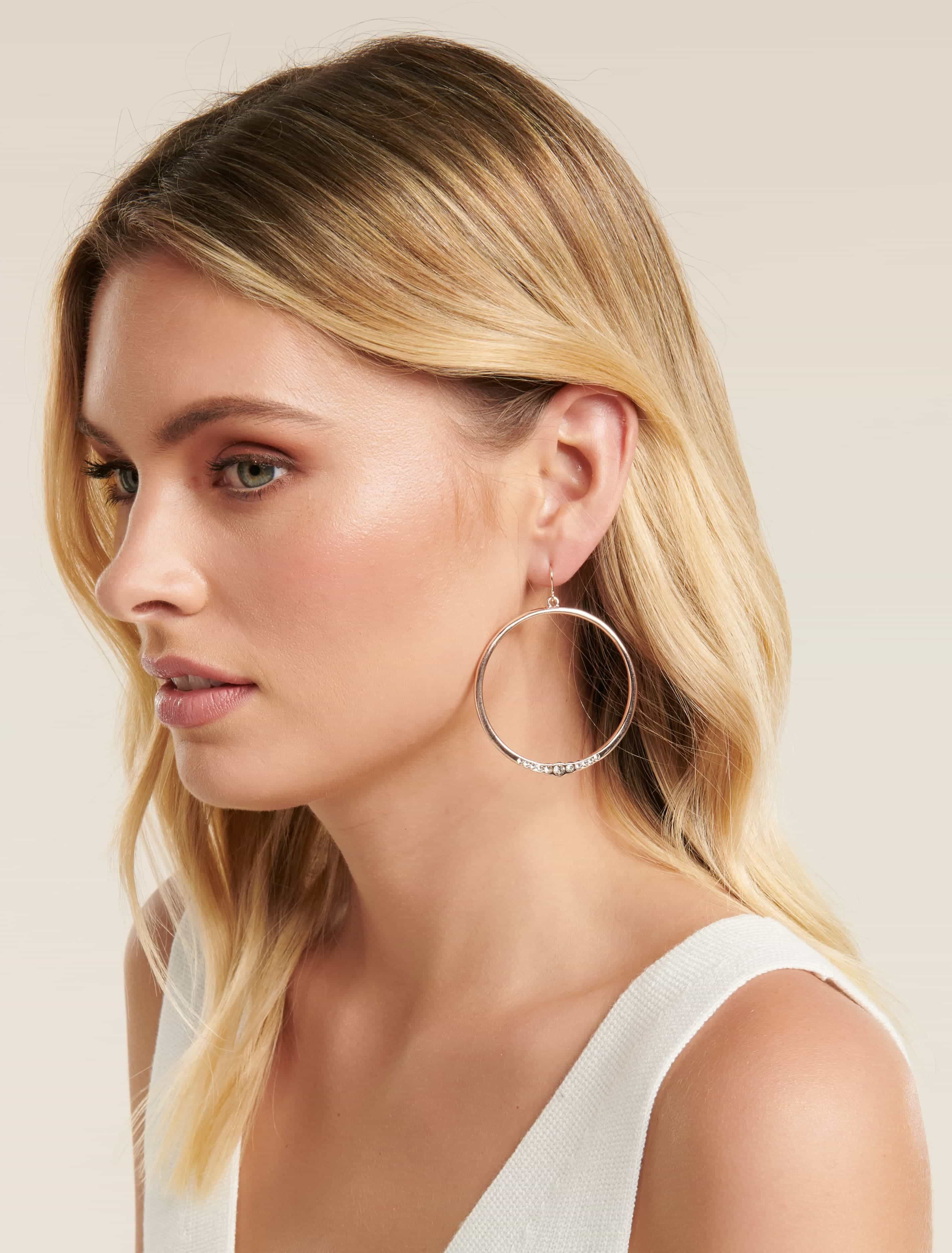 Ever New Tuva Simple Diamante Hoop - Rose Gold