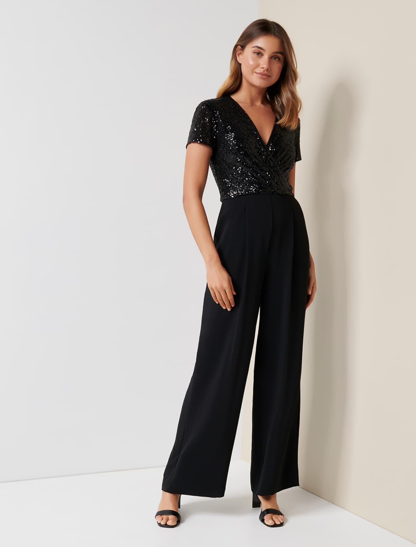 70s Jumpsuit | Disco Jumpsuits, Sequin Rompers Elaine Sequin Jumpsuit - Black - 12 $161.99 AT vintagedancer.com