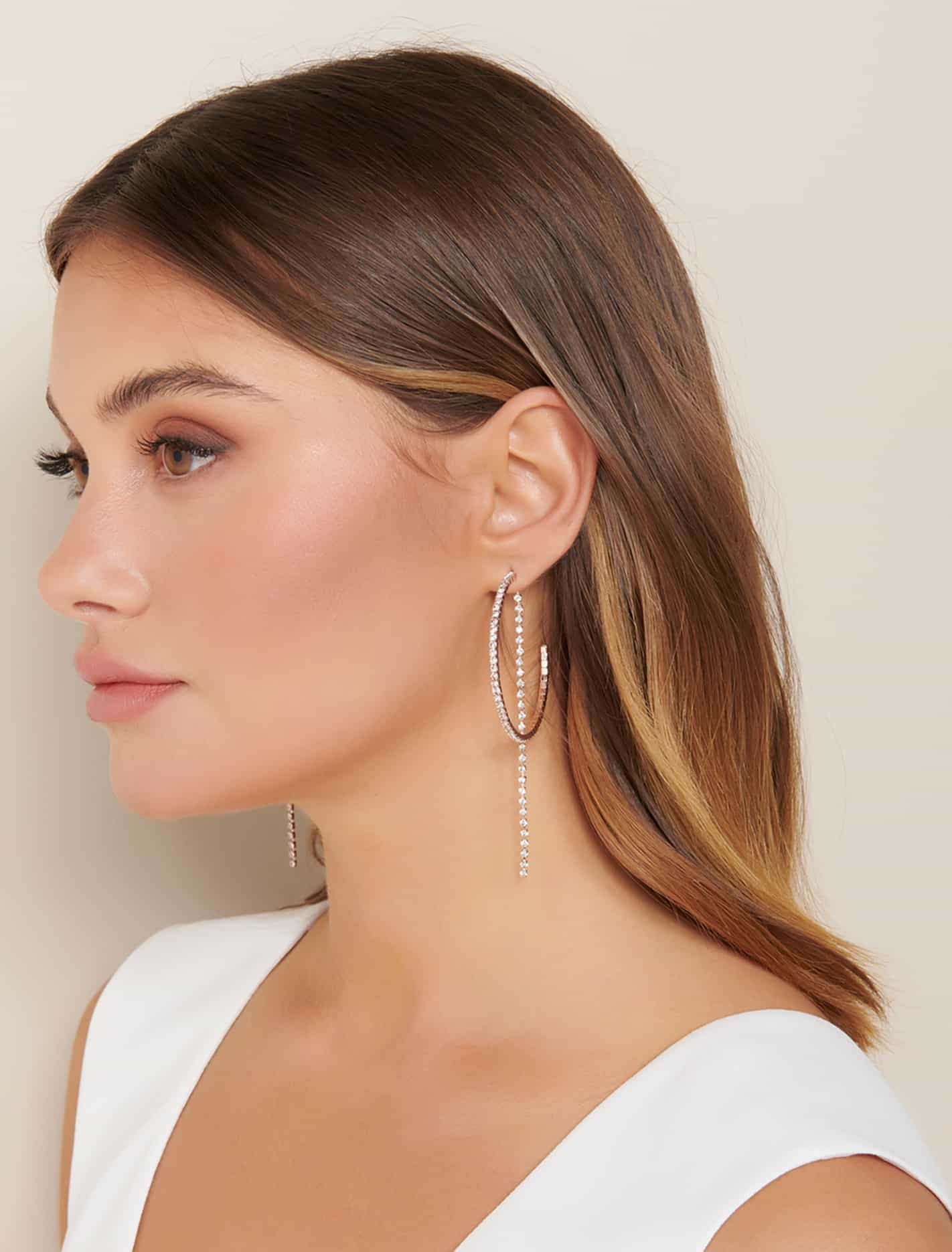 Ever New Jayla Diamante Hoop and Chain Earrings - Rose Gold