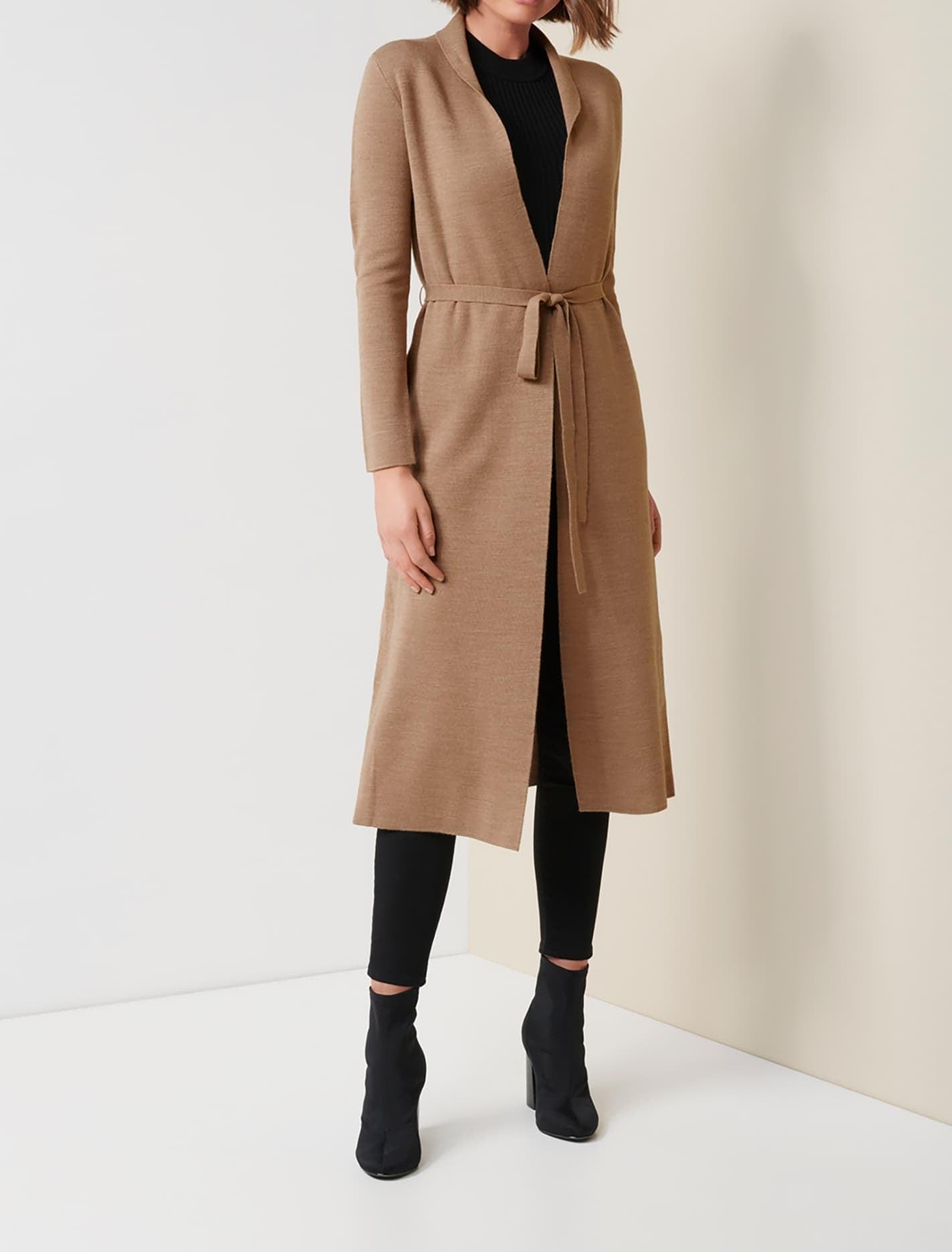 Ever New Mia Wool Blend Longline Knit Cardigan - Camel