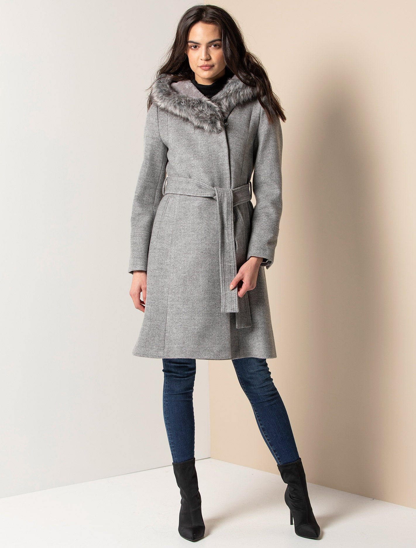 Ever New Bianca Hooded Wrap Coat - Grey Marle