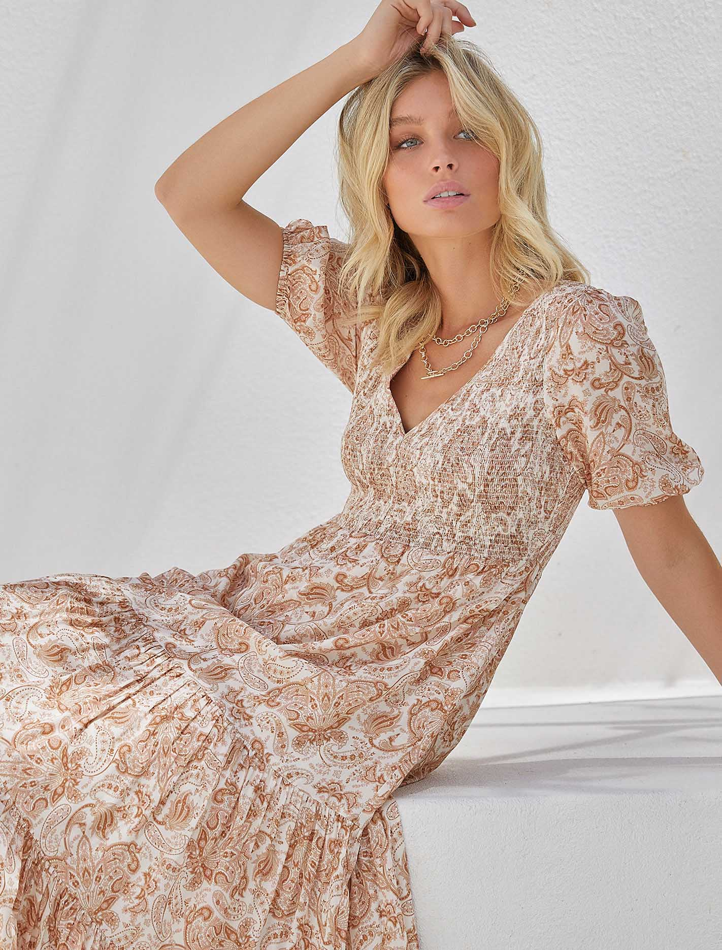 70s Dresses – Disco Dress, Hippie Dress, Wrap Dress Amy Tiered Midi Dress - Valencia Paisley - 384 $159.99 AT vintagedancer.com