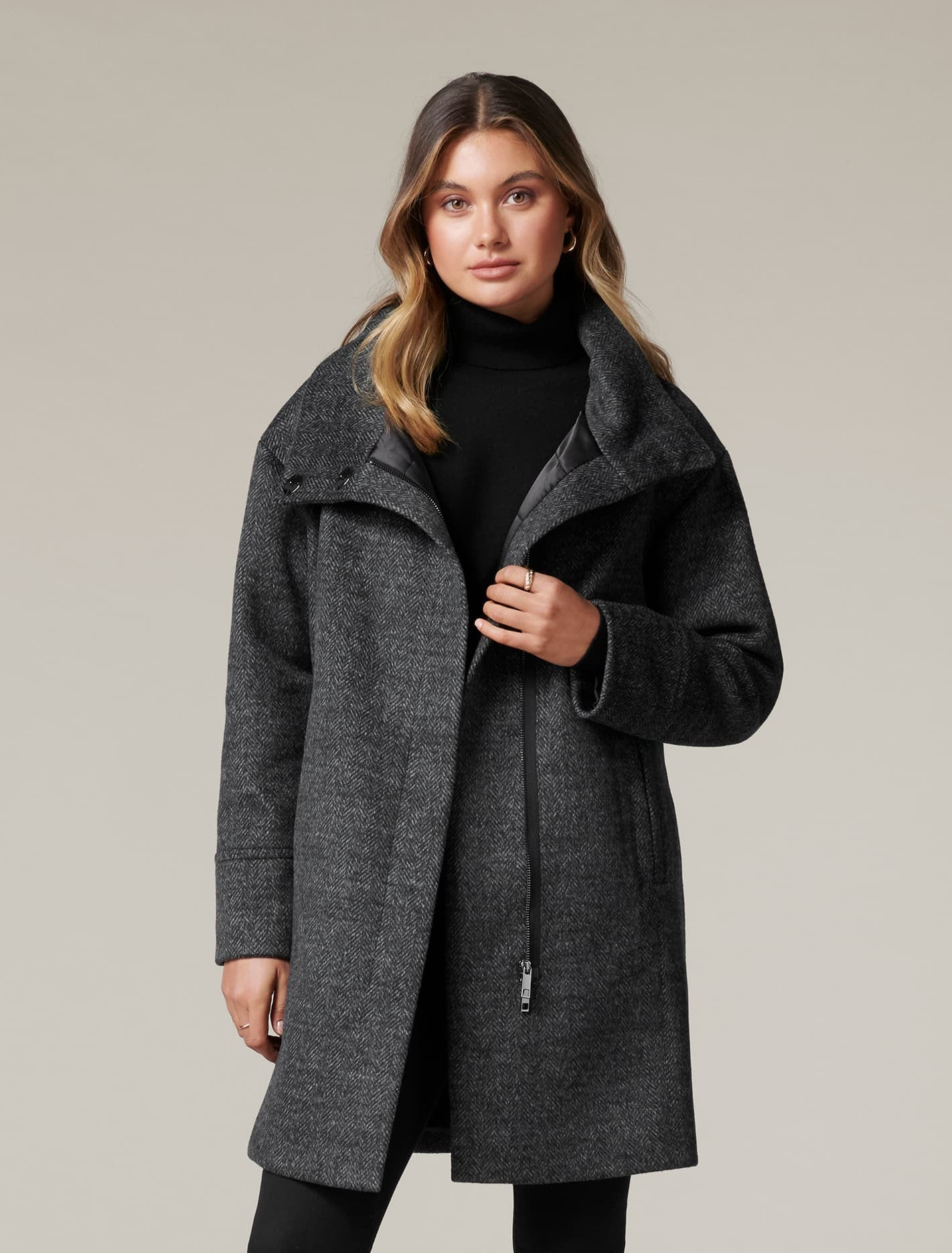 Ever New Cameo Funnel-Neck Coat - Soft Grey