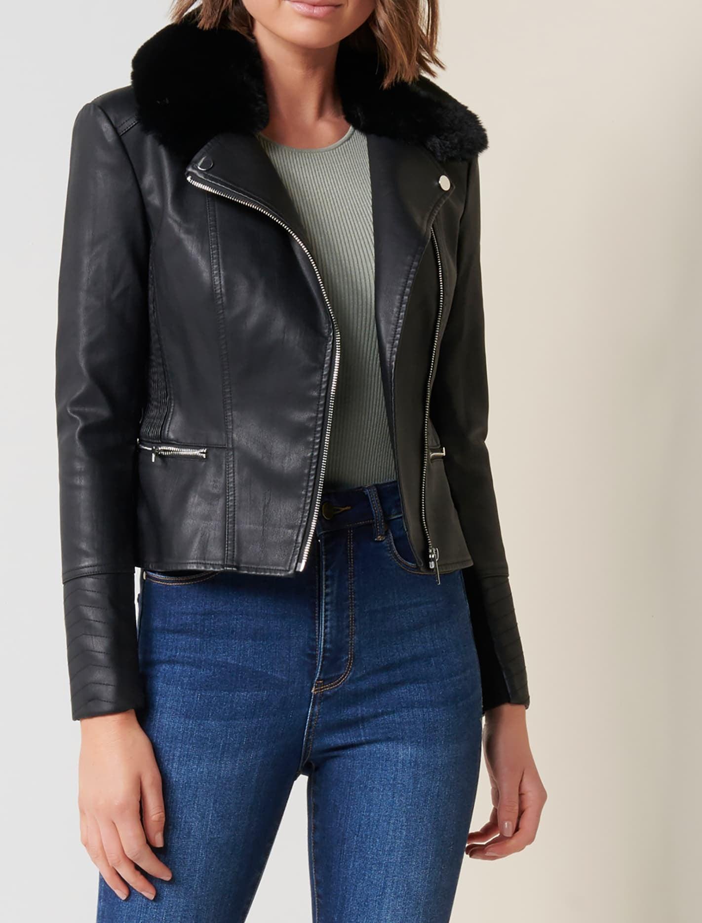 Ever New Lolita Fur Collar Biker - Black