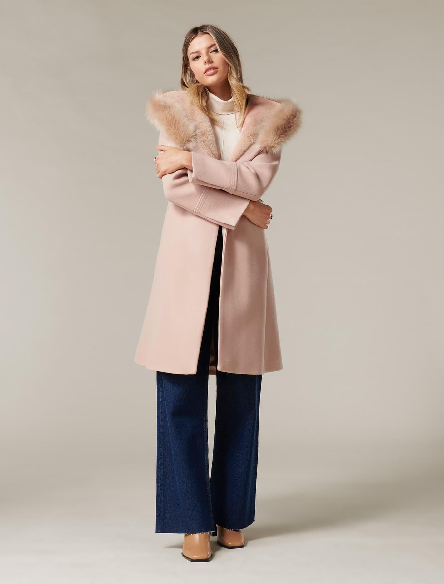 Ever New Bianca Hooded Wrap Coat - Soft Oatmeal