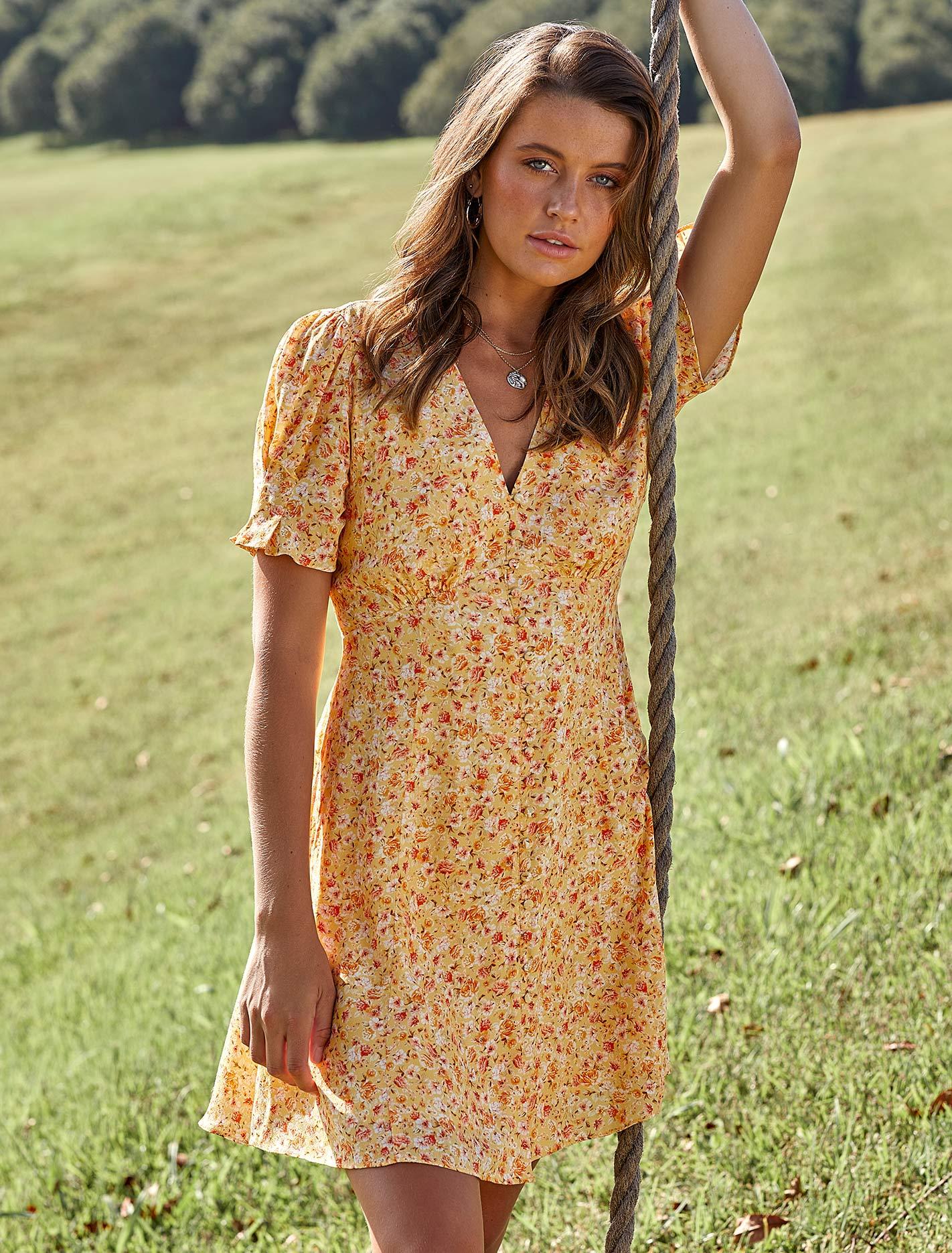 Ever New Saffron Printed Mini Sundress - Amber Ditsy
