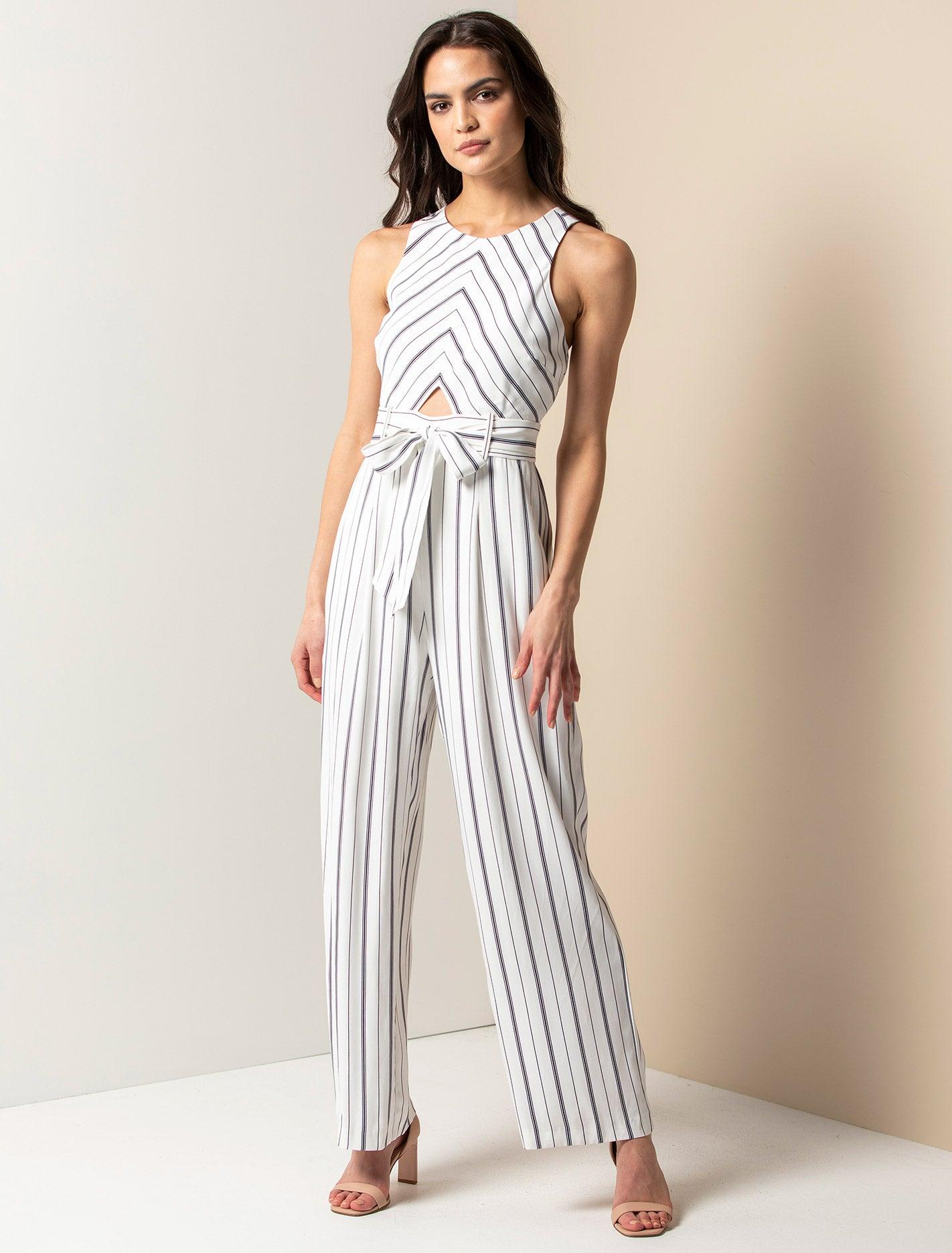 Ever New Jodie Striped Jumpsuit - Marine Stripe