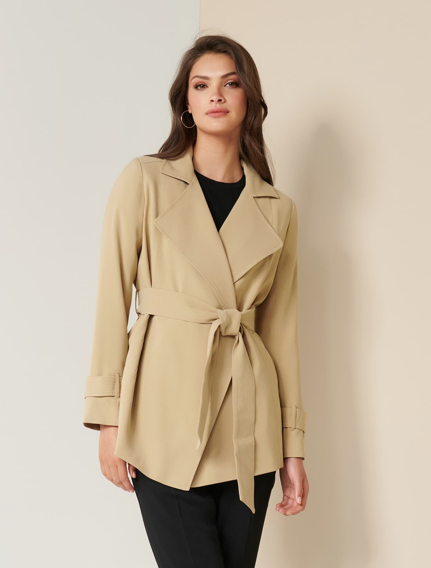 Ever New Beatrice Cropped Trench Jacket - Camel