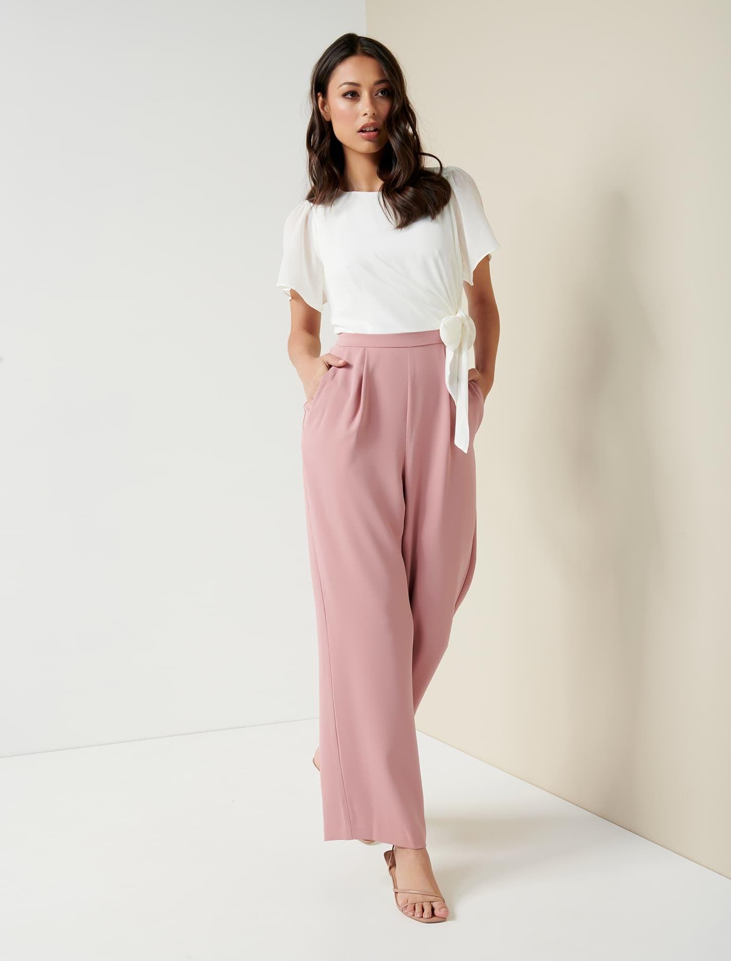 Ever New Alia Flutter Sleeve Jumpsuit - Ivory/Pink