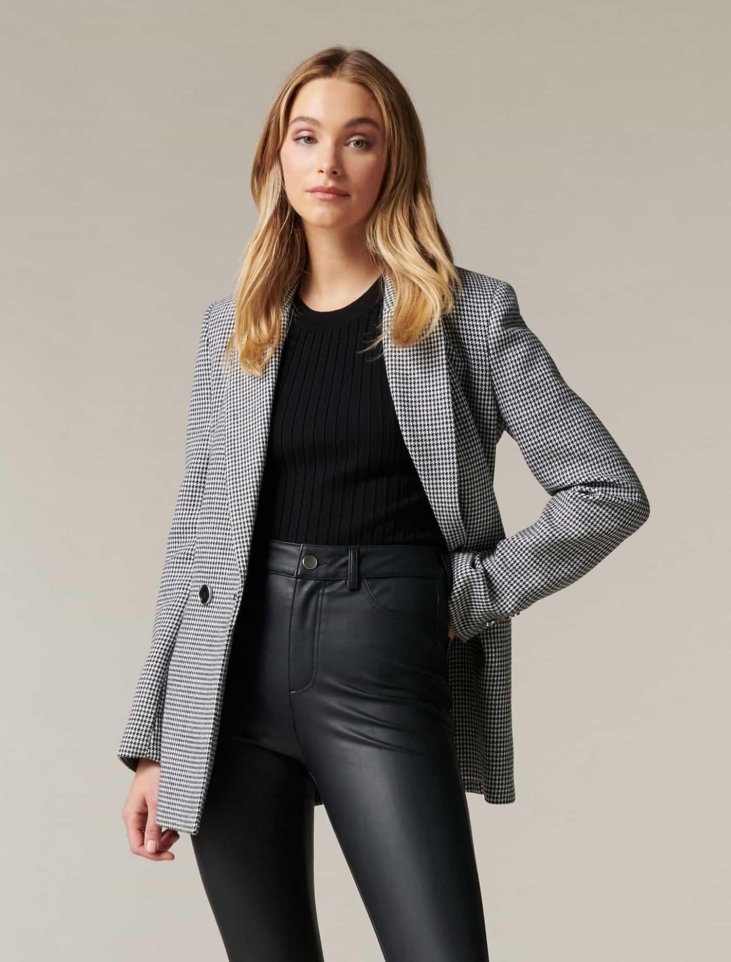 Ever New Claudette Wool Blazer - Houndstooth