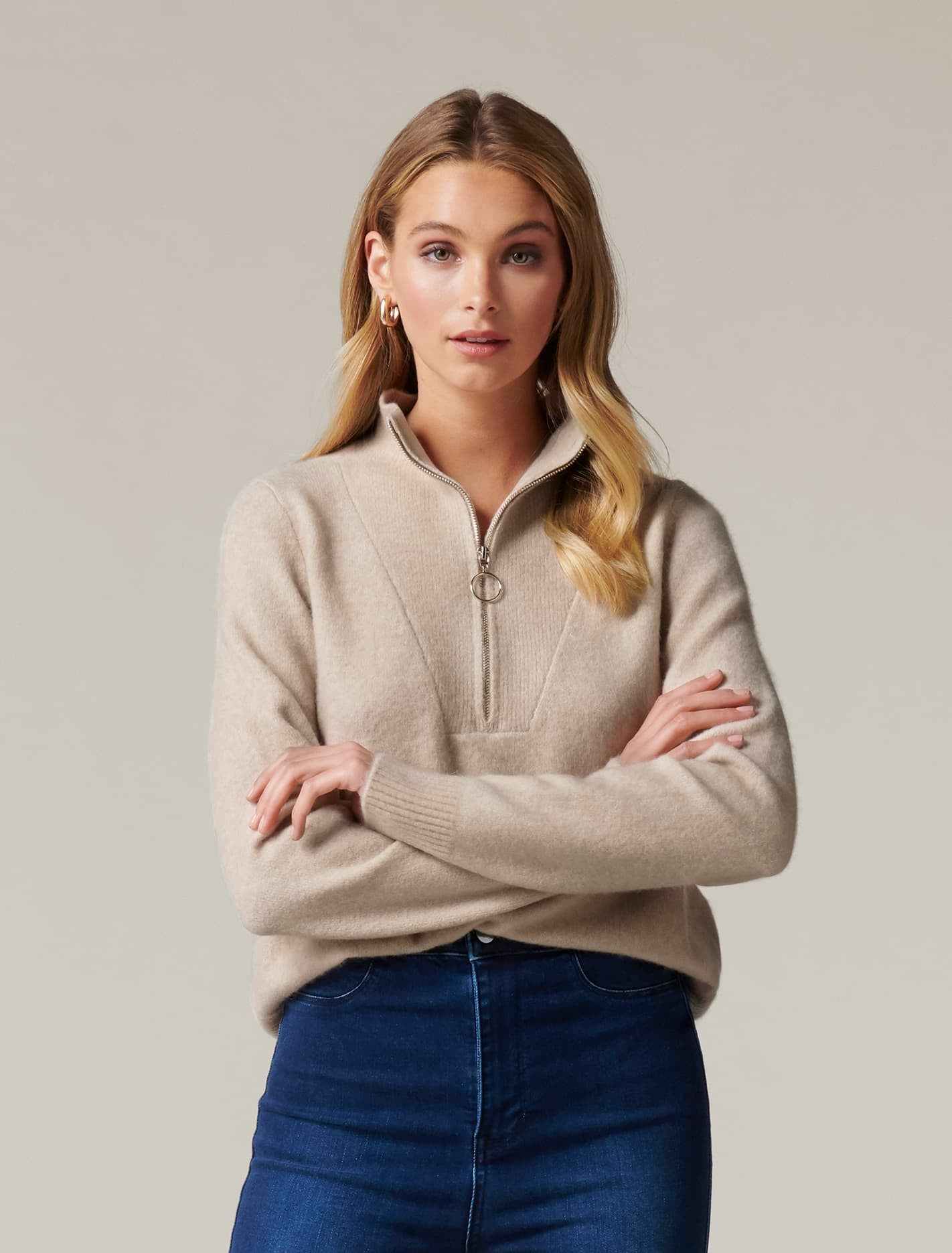 Ever New Candice Half Zip-Neck Sweater - Oatmeal