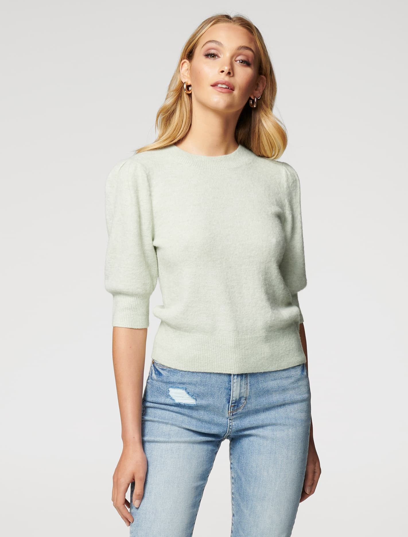 Ever New Paloma Brushed Puff-Sleeve Sweater Tee - Soft Green