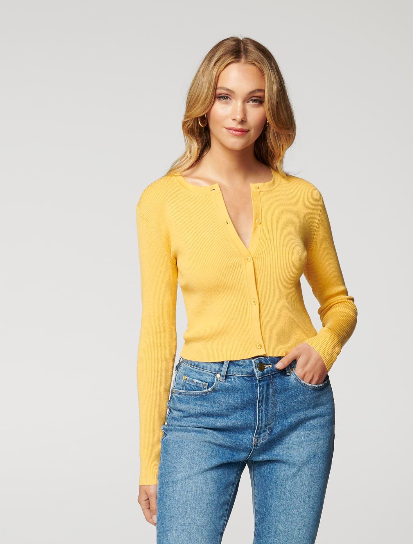 Ever New Lana Rib Crop Knit Cardigan - Ambers