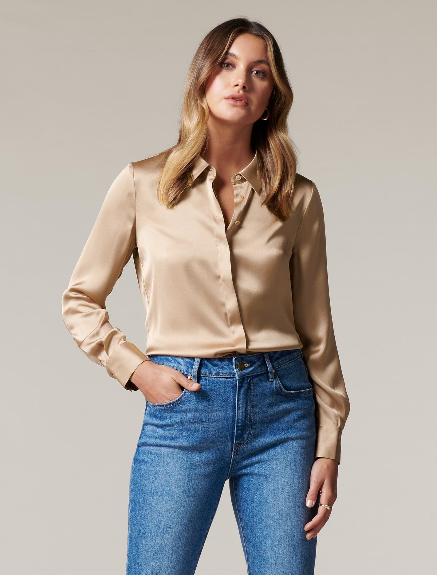 Ever New Clara Satin Shirt - Burnt Almond