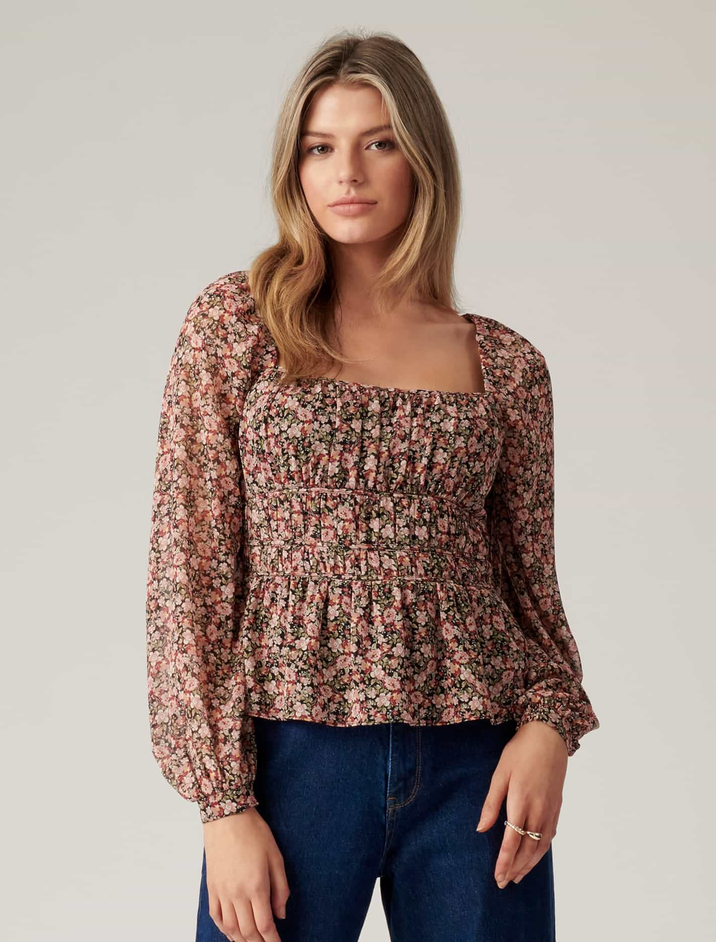 Ever New Macy Shirred Waist Blouse - Woodford Ditsy