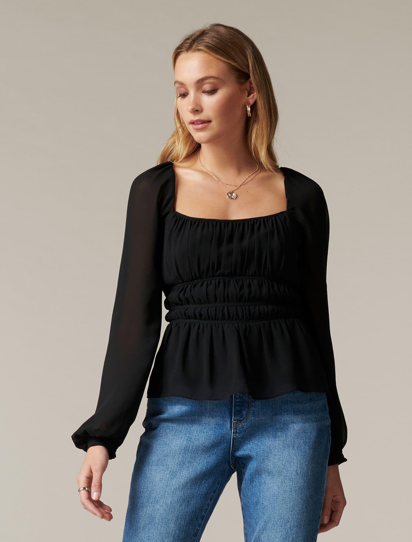 Ever New Macy Shirred Waist Blouse - Black